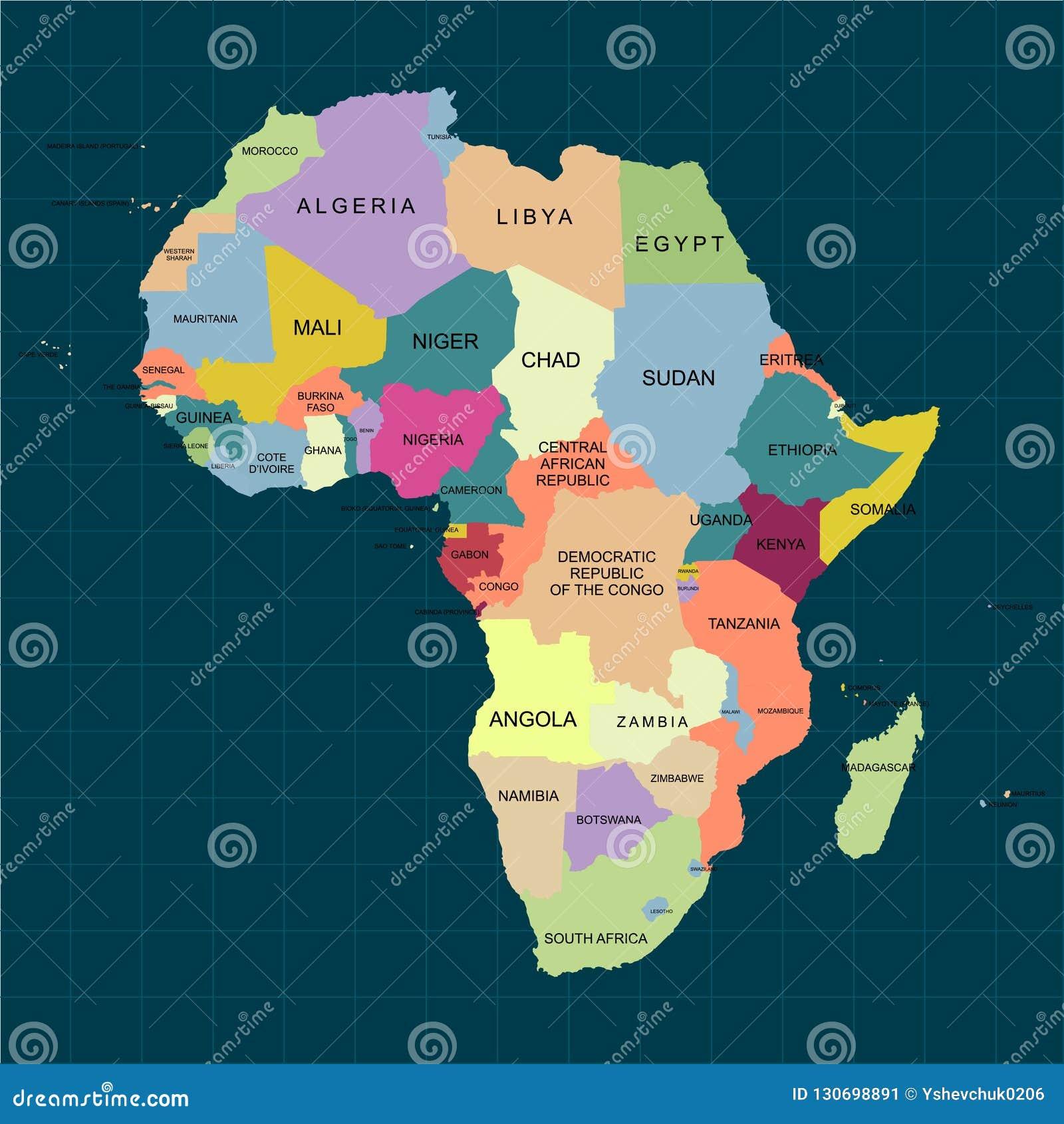 Couleur De L Afrique.Territoire De L Afrique Avec La Decoupe Et La Couleur D