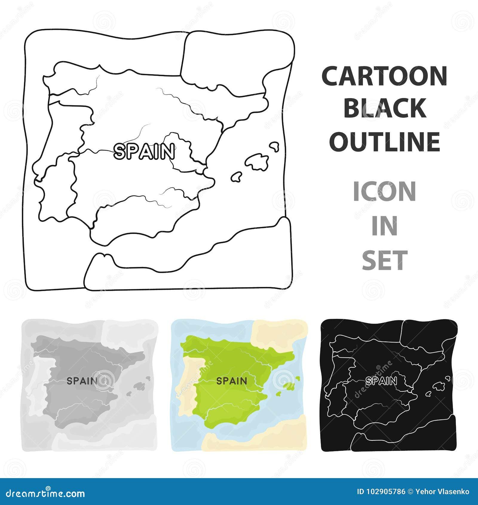 8b27554cad05a Territorio del icono de España en diseño de la historieta aislado en el  fondo blanco Ejemplo del vector de la acción del símbolo del país de España