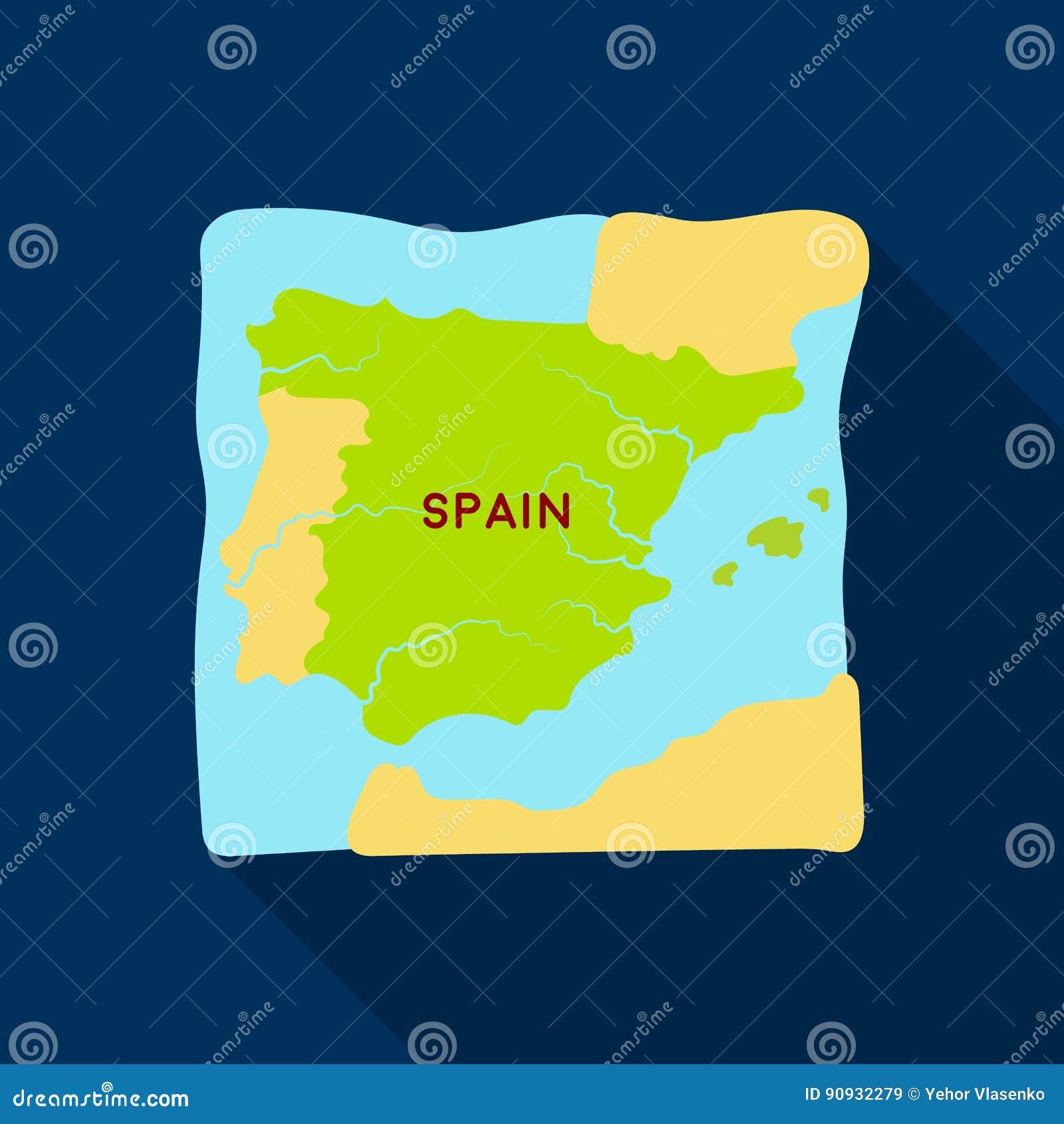 0a4137d17f189 Territorio del icono de España en diseño plano aislado en el fondo blanco  Ejemplo del vector de la acción del símbolo del país de España