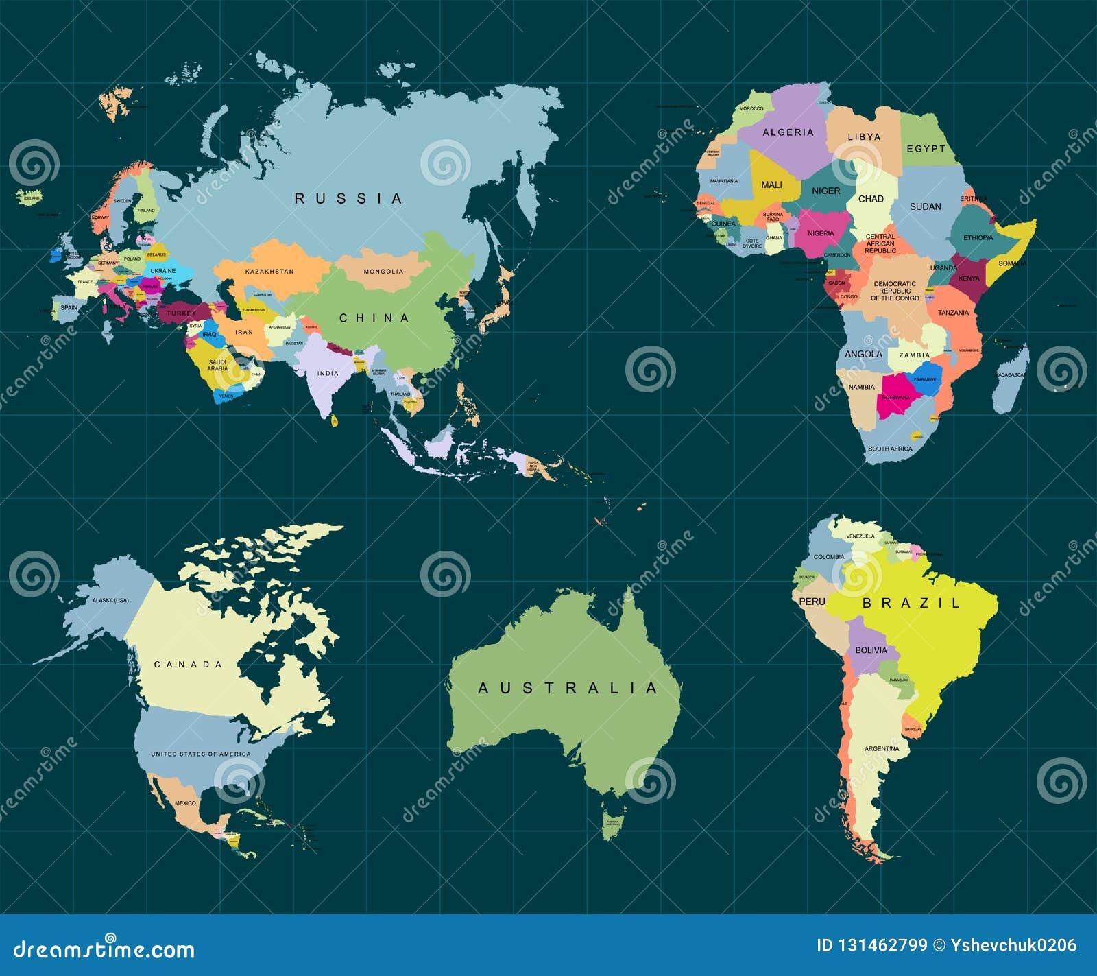 Territorium av kontinenter - Afrika Europa Asien Eurasia, Sydamerika, Nordamerika, Australien Stranda av hår vänder mot in vektor