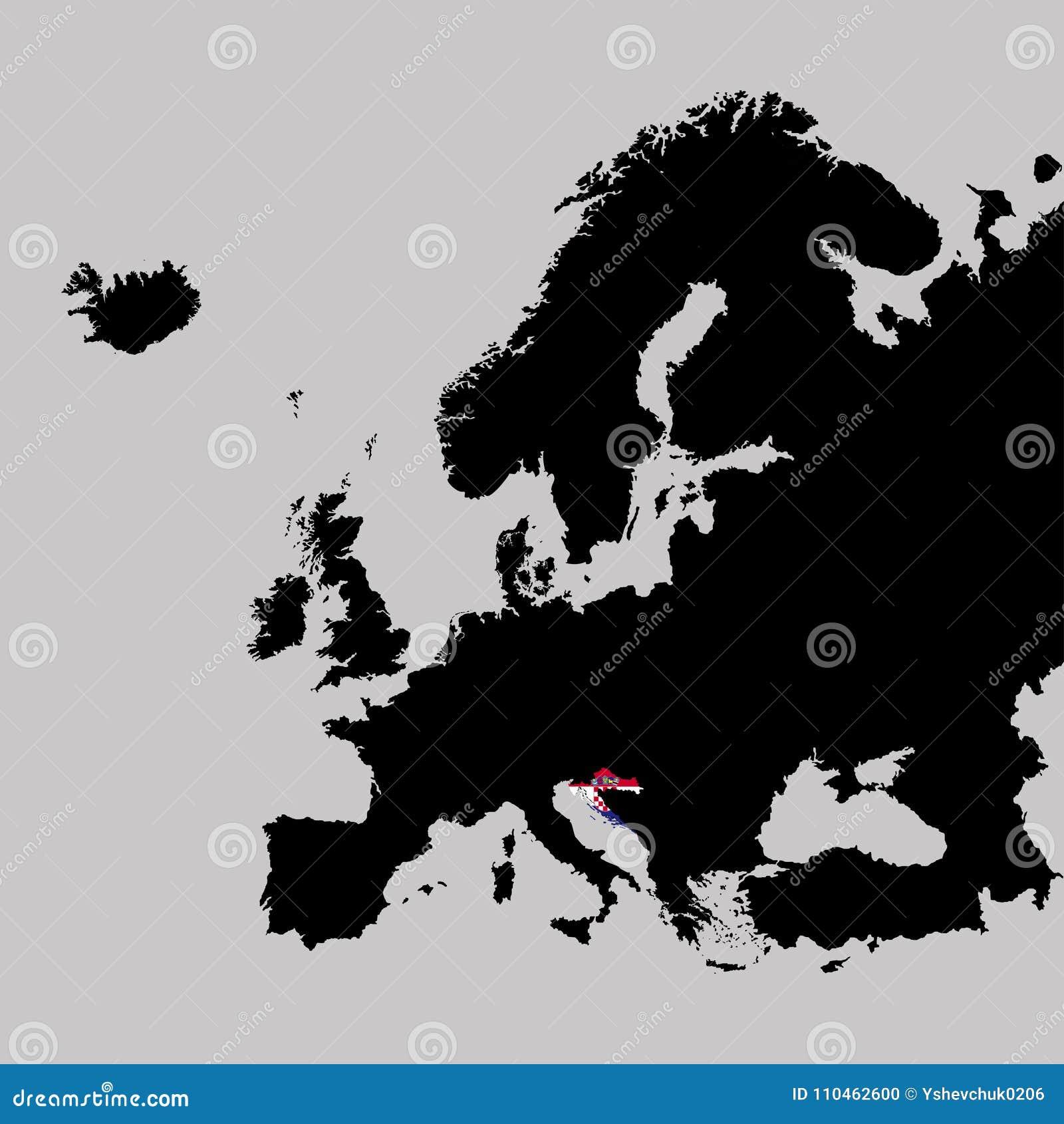 Territorium av Kroatien på den Europa översikten på en grå bakgrund