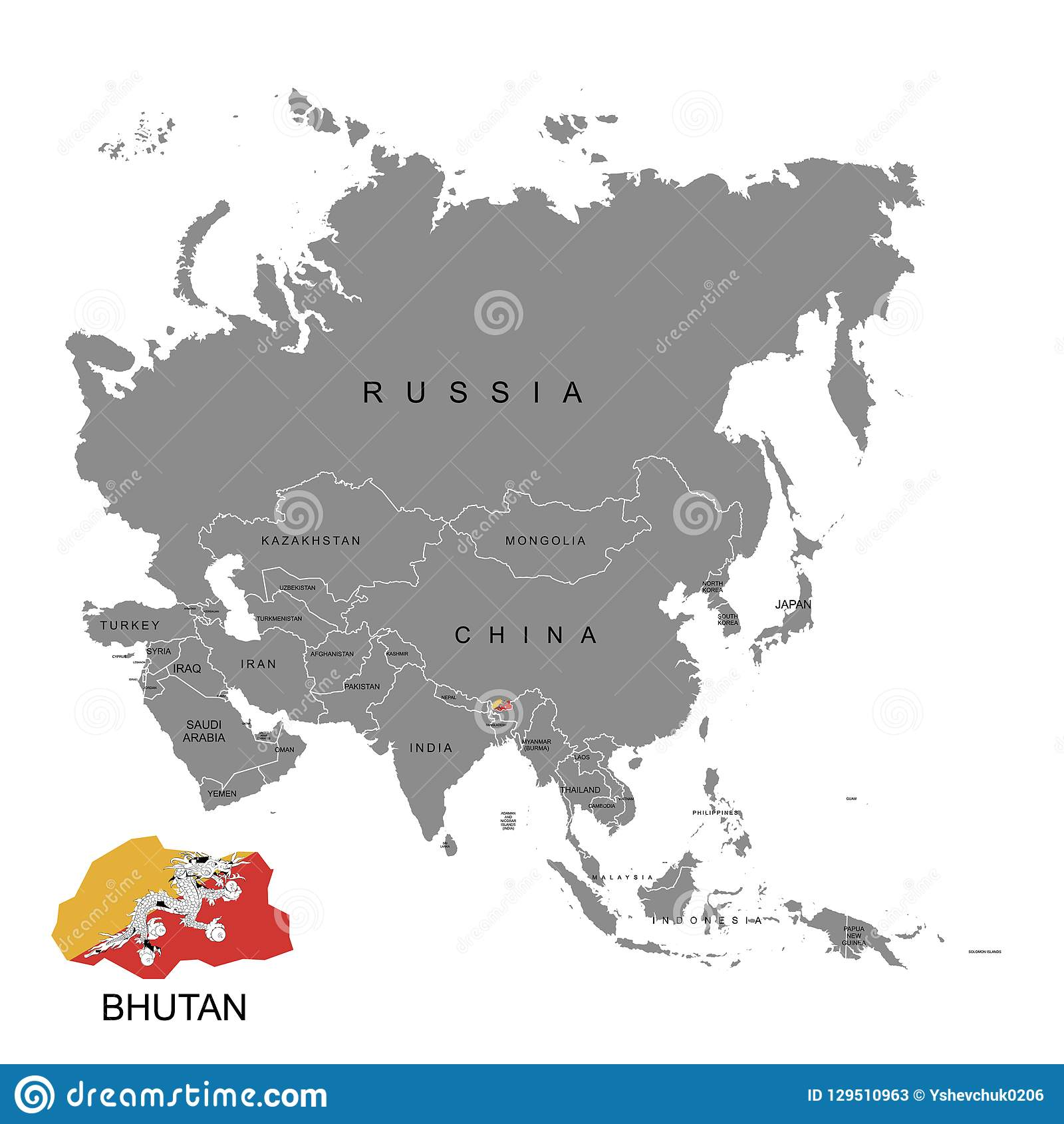 Territory Of Bhutan On Asia Continent  Flag Of Bhutan