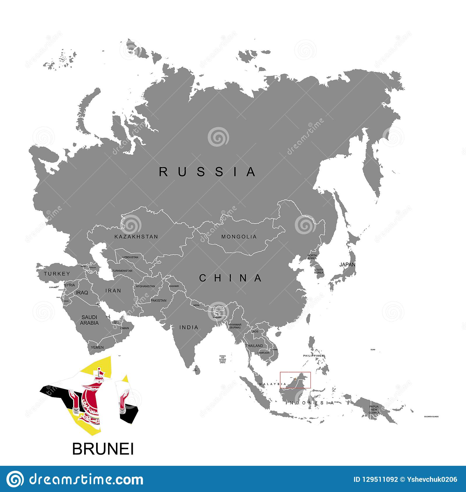 Territory Of Brunei On Asia Continent Flag Of Brunei Vector