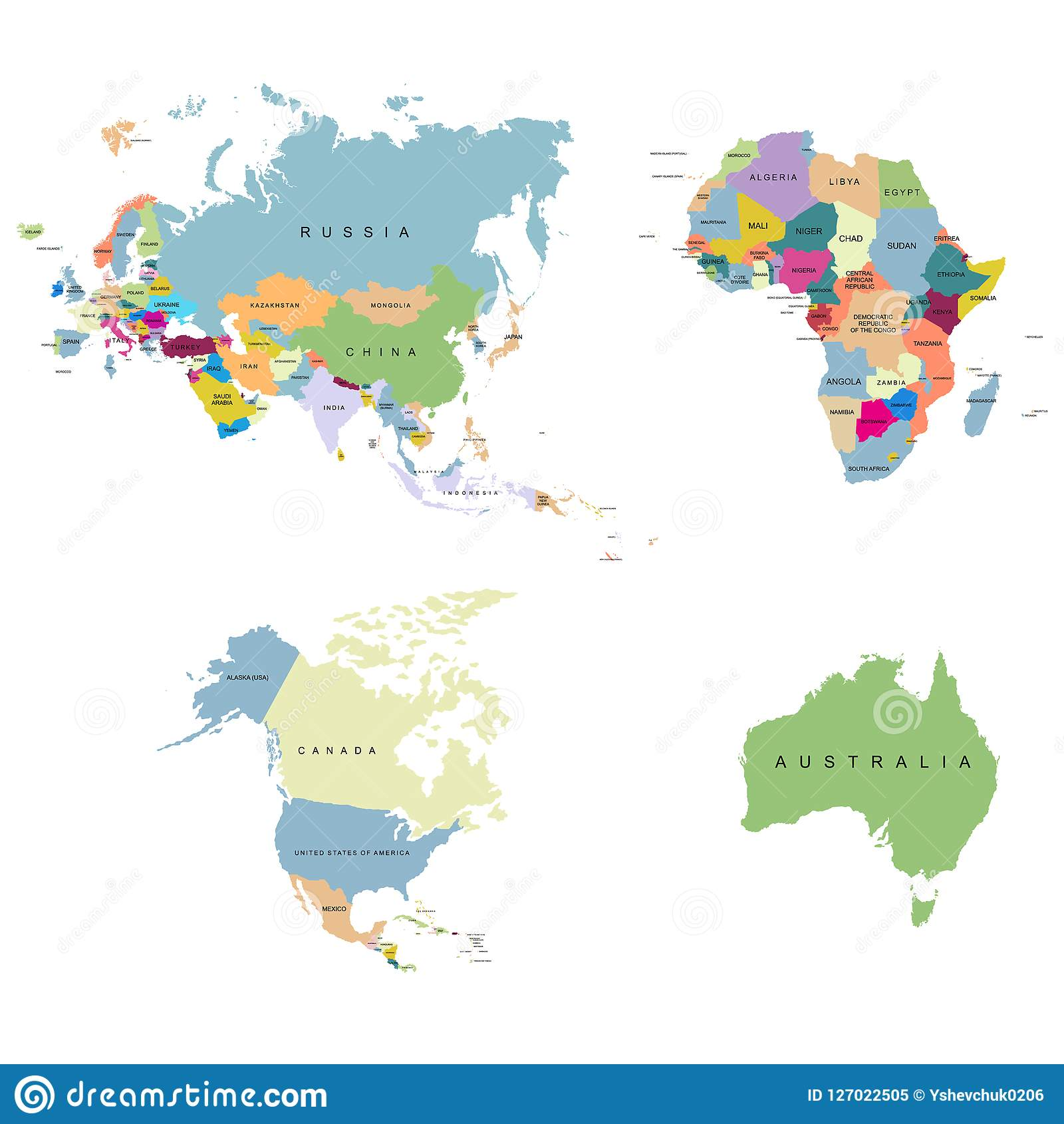 Map Of Canada And Europe.Territory Of Continents Europe Usa Canada Africa Eurasia