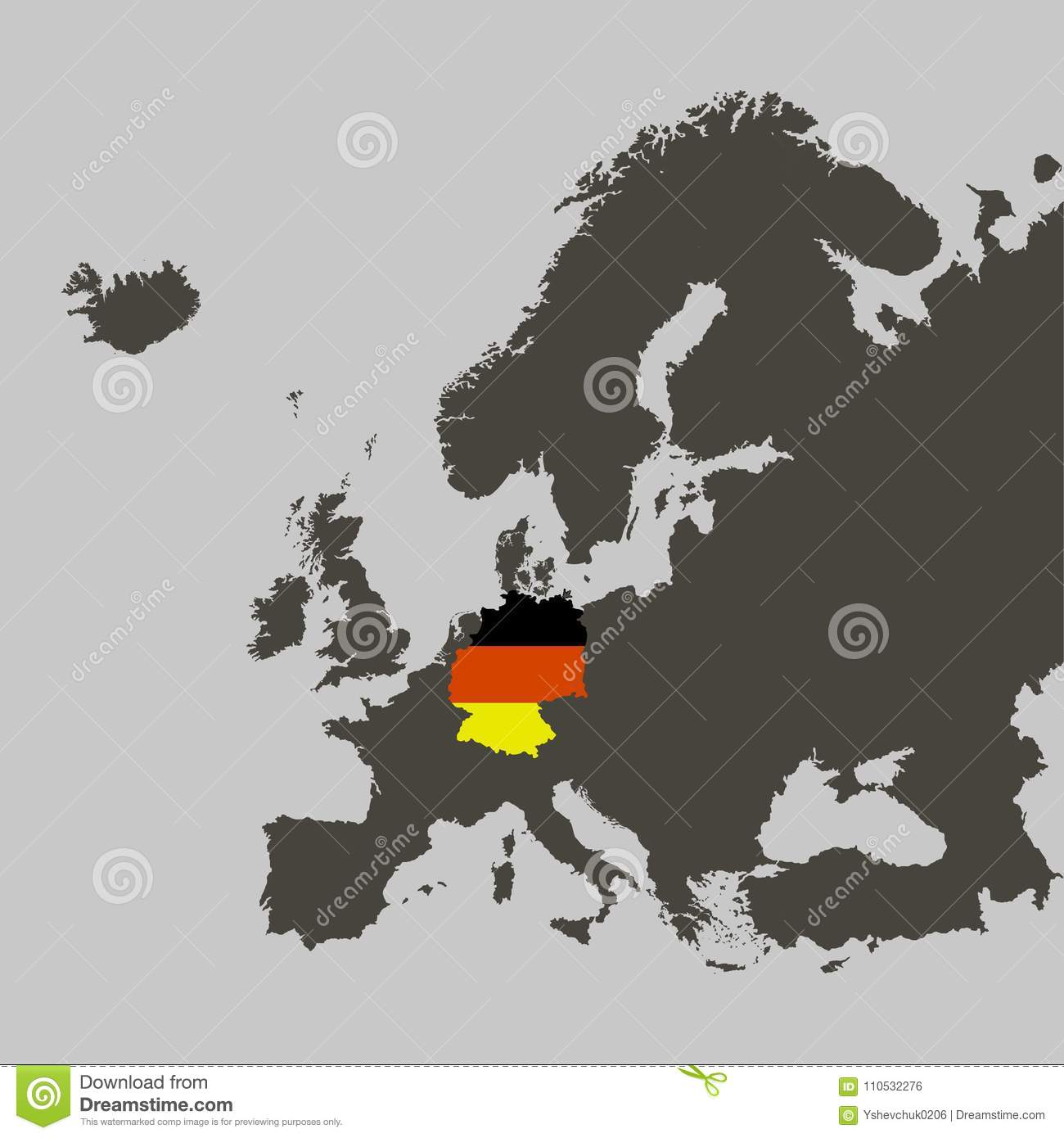 Territory Of Germany With Flag On Europe Map Stock Vector