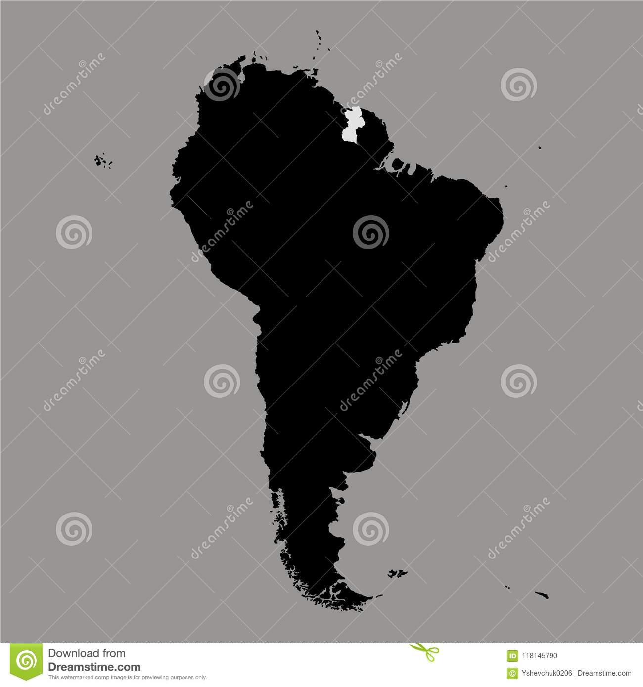 Territory Of Guyana On South America Map On The Grey Background ...