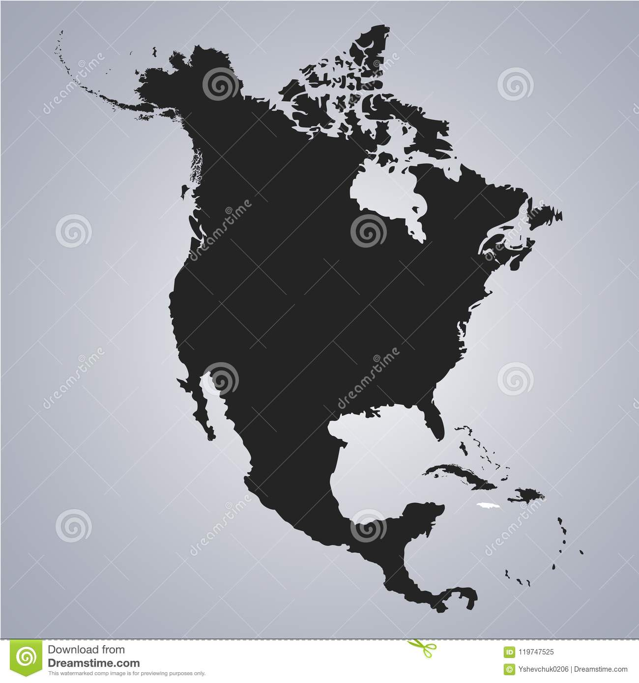 Territory Of Jamaica On North America Continent Map On The Grey ...