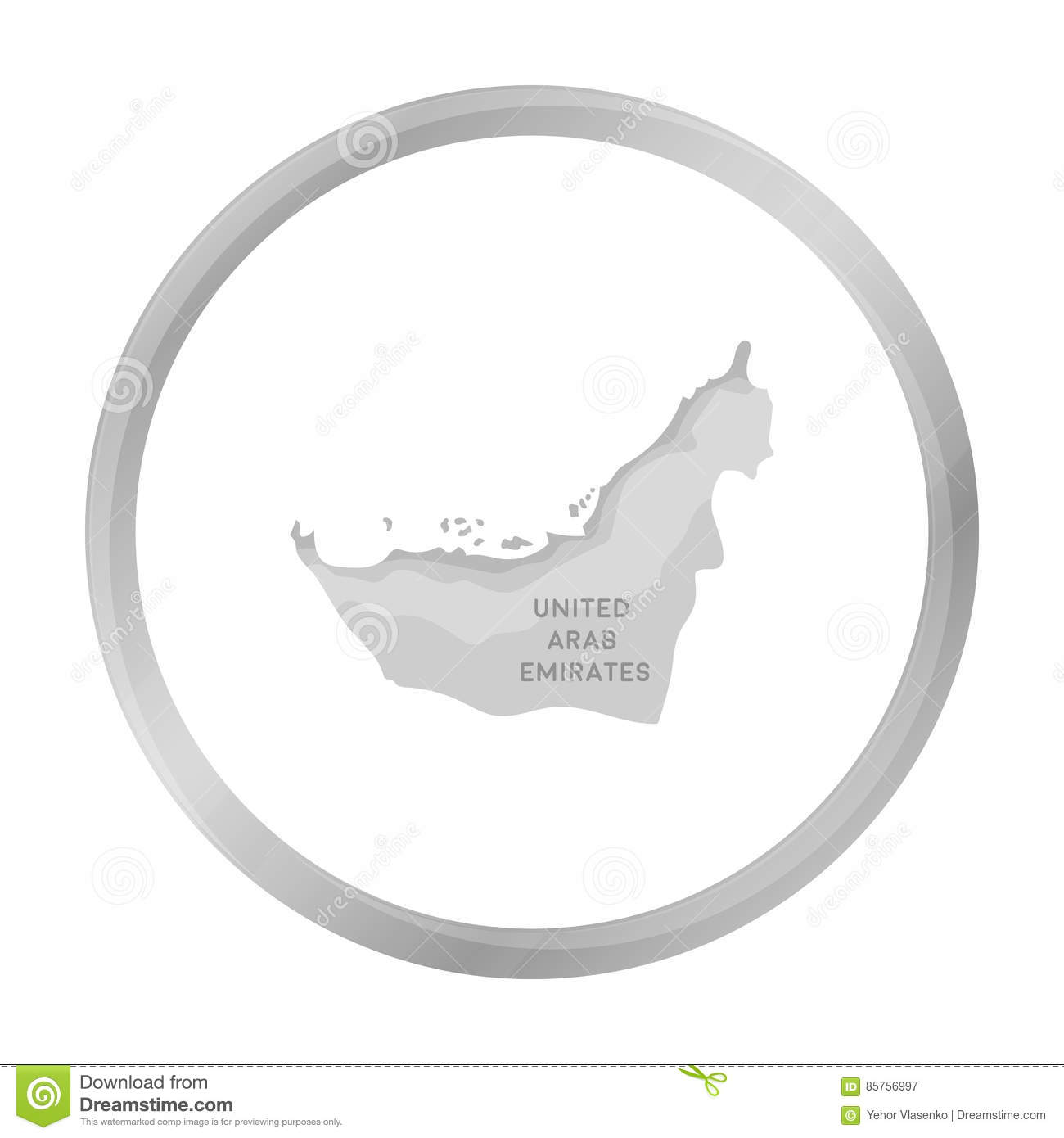 Territory Of United Arab Emirates Icon In Monochrome Style Isolated
