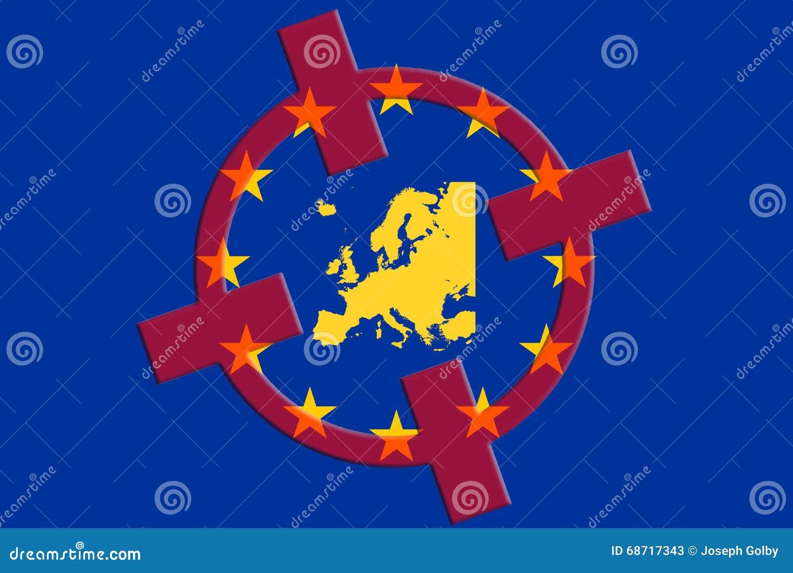 terrorism concept europe eu terror target eu flag red crosshair map