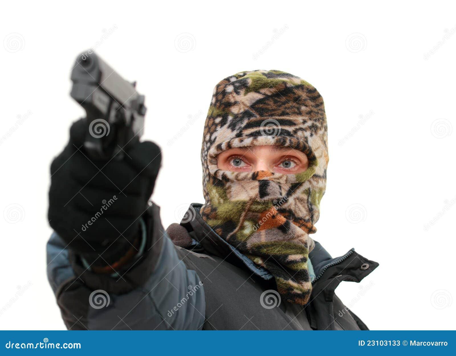 Terrorist Photo: Terrorist Stock Image. Image Of Mask, Handgun, Pistol
