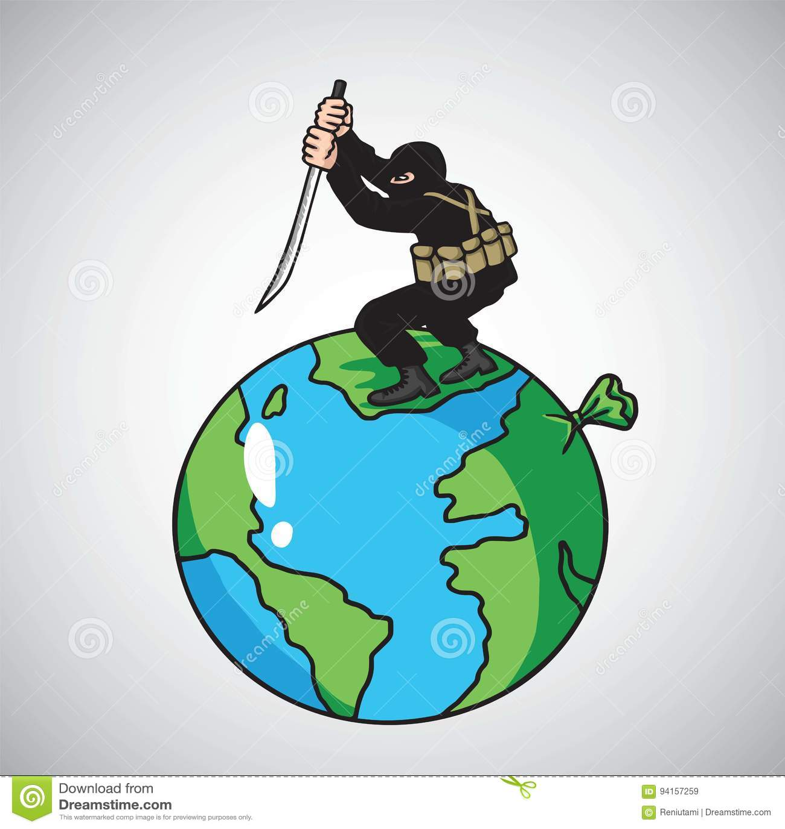 terrorist attack destroying the world peace vector cartoon illustration