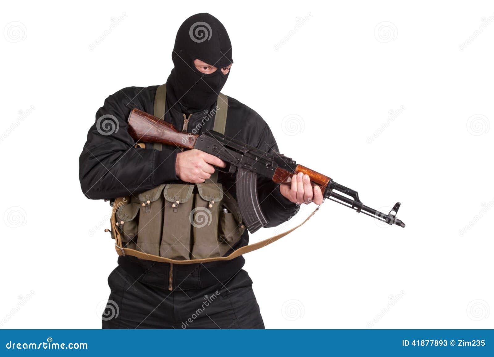 Terrorist Photo: Terrorist In Black Uniform And Mask With Kalashnikov