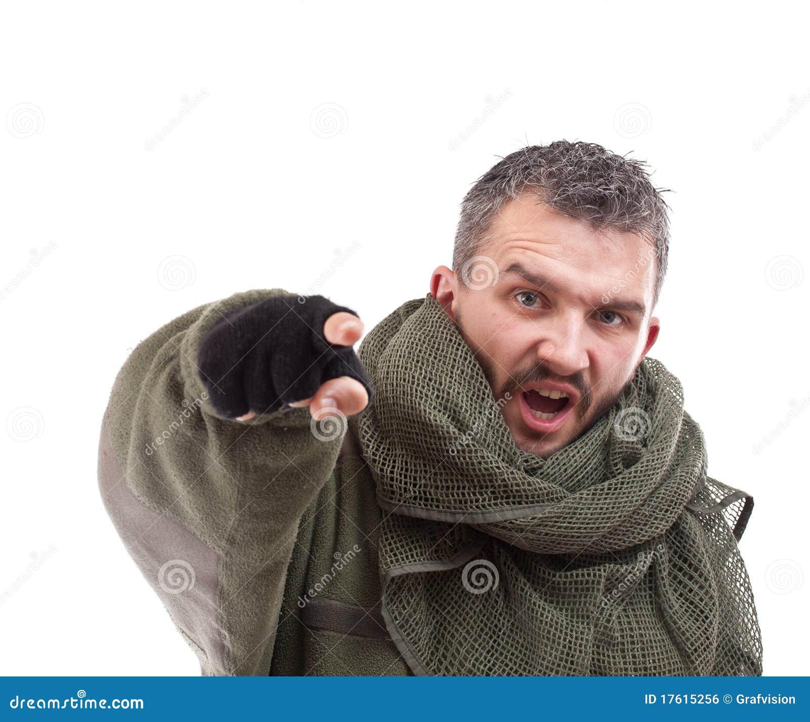 Terrorist, der für Sie zeigt