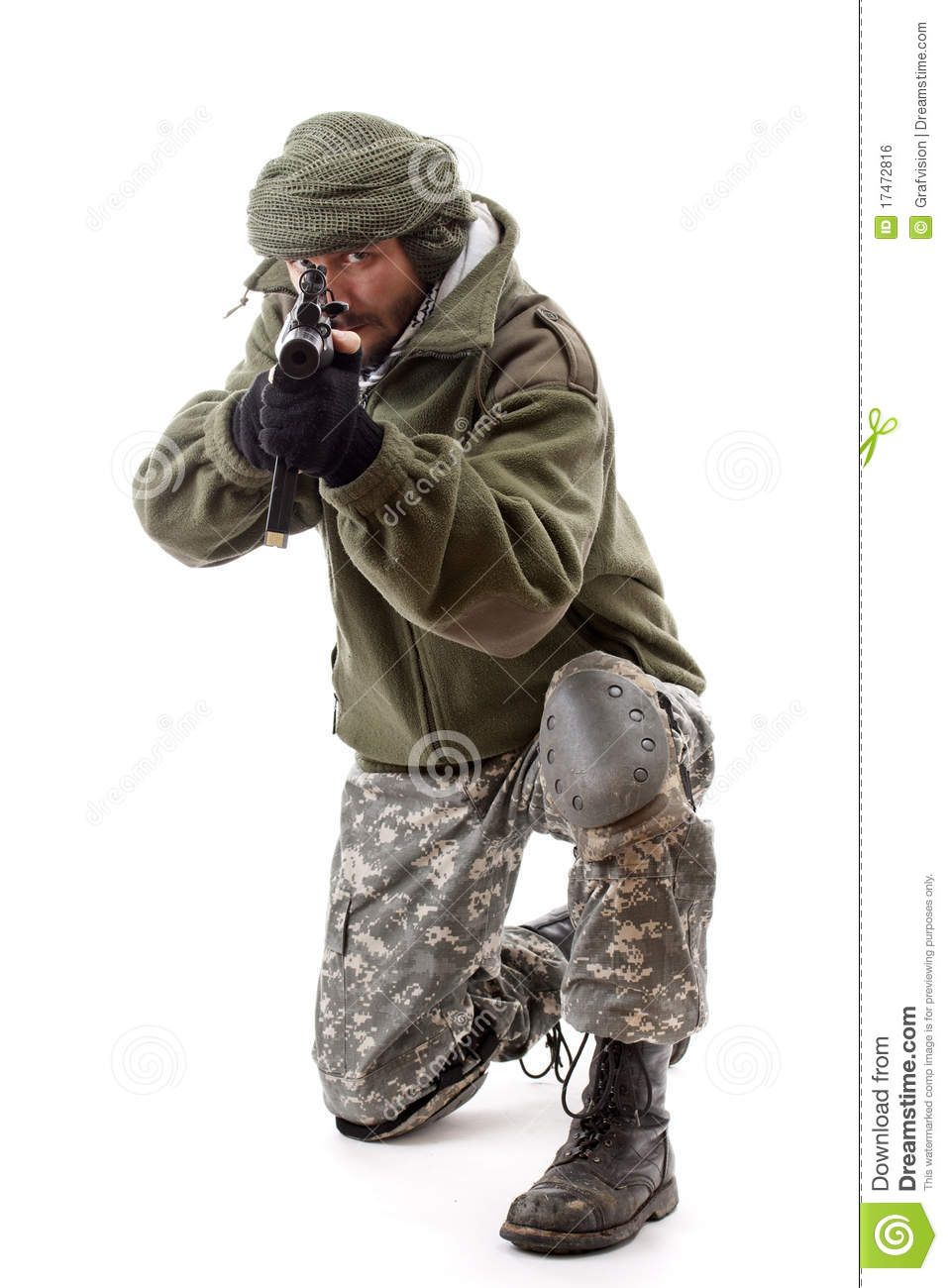 Terrorist Pointing Gun Royalty Free Stock Image Image
