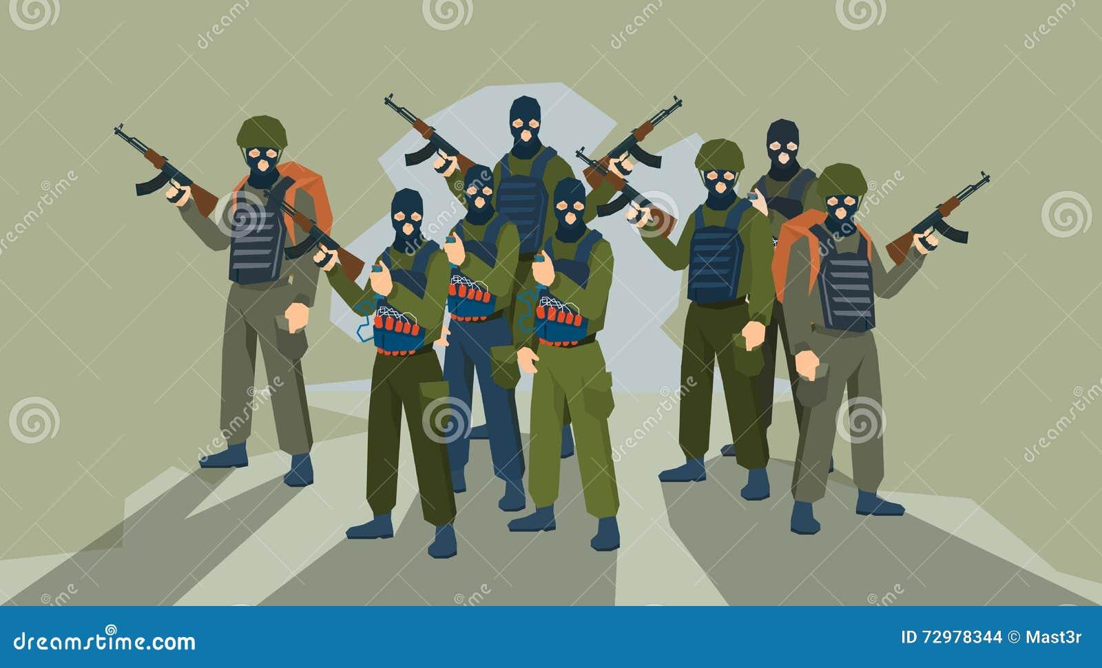 Terrorista armado Group Terrorism Concept