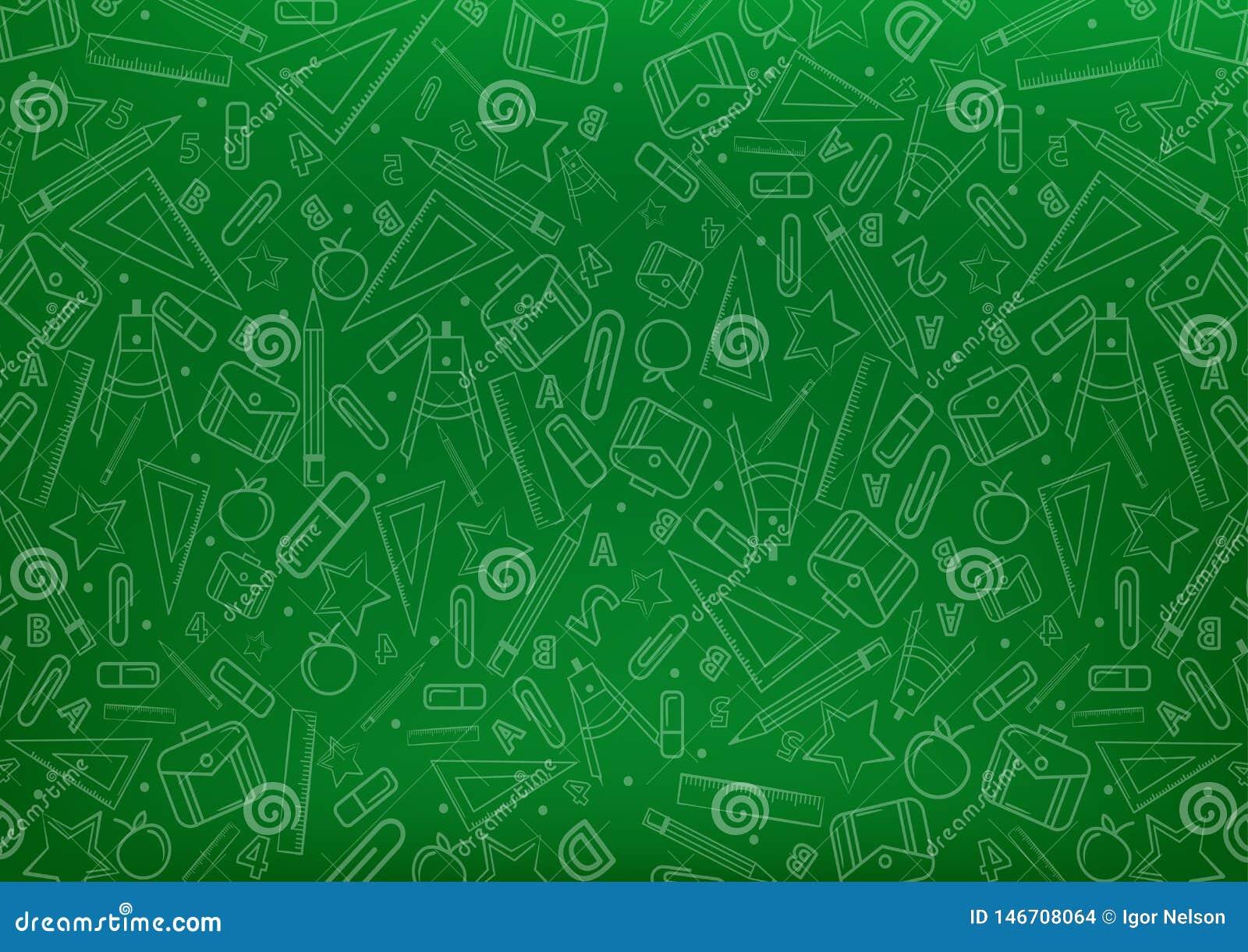 Terug naar het patroon van het schoolconcept op bord met de illustraties van schooldingen de vectorachtergrond van het illustrati
