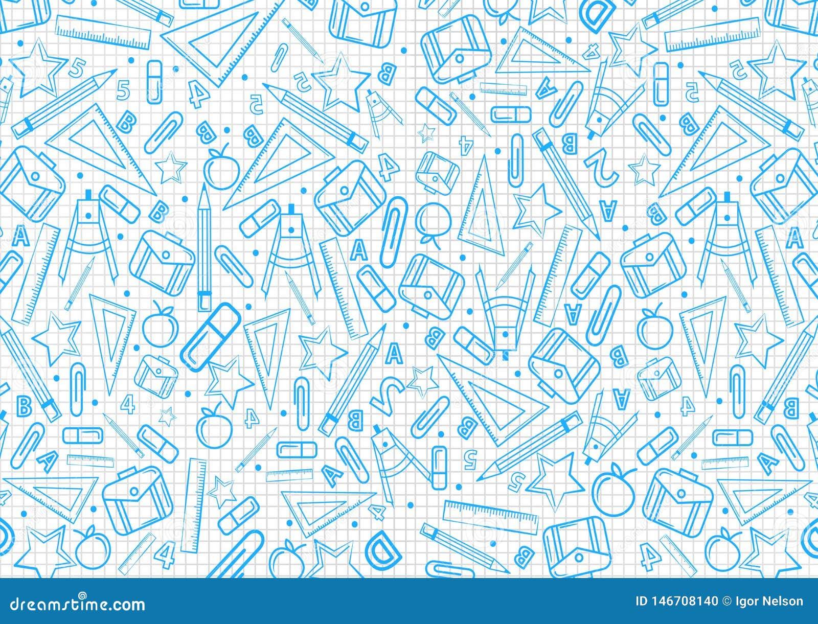 Terug naar het patroon van het schoolconcept op notitieboekje met de blauwe illustraties van schooldingen de vectorachtergrond va