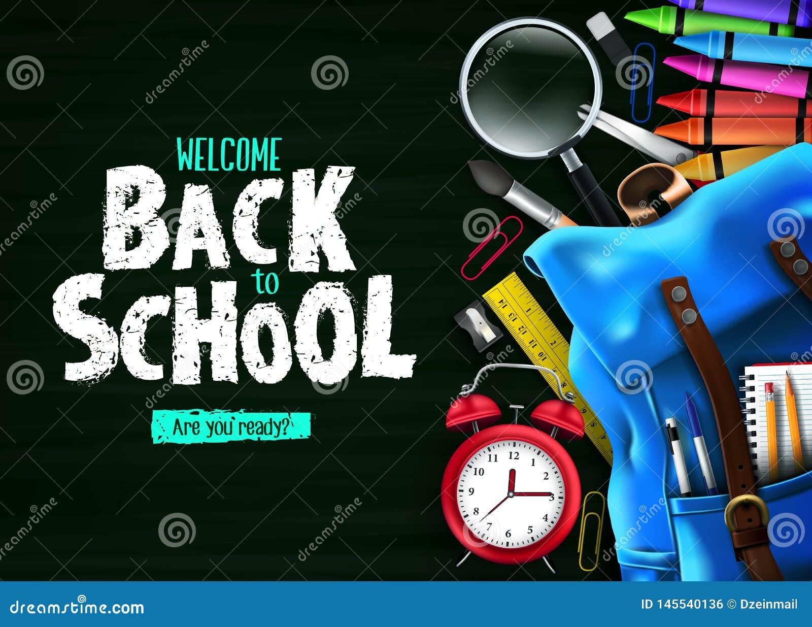 Terug naar School in Groene Bordbanner Als achtergrond met Blauwe Rugzak en Schoollevering
