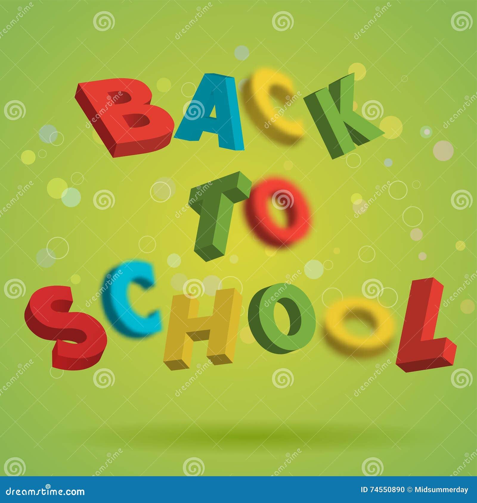 Terug naar School kleurrijke teksten op een heldergroene achtergrond Speels 3D Brievenontwerp Het concept van het onderwijs Vlieg