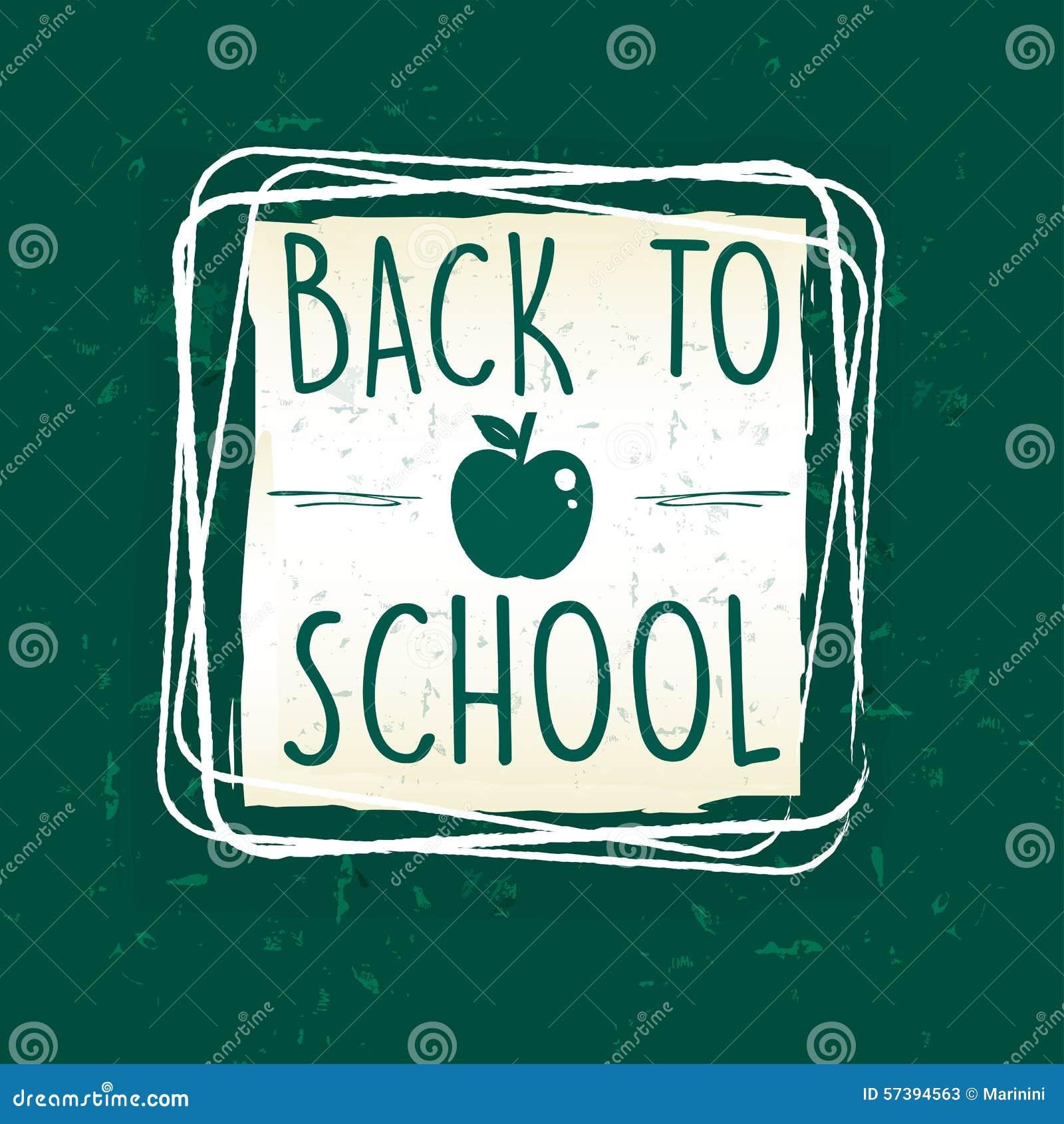 Terug naar school met appel in kader over groen oud document