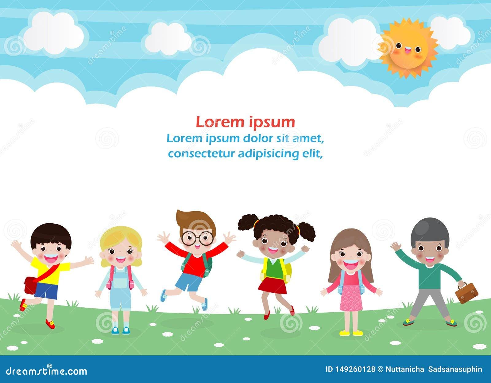 Terug naar school, onderwijsconcept, schooljonge geitjes, gaan de gelukkige kinderen naar school, Malplaatje voor reclamefolder,