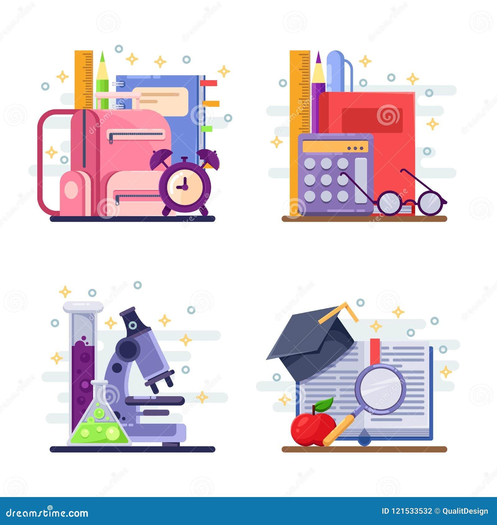Terug naar school vector abstracte vlakke illustratie Onderwijs en studiepictogrammen, etiketten, stickers en ontwerpelementen