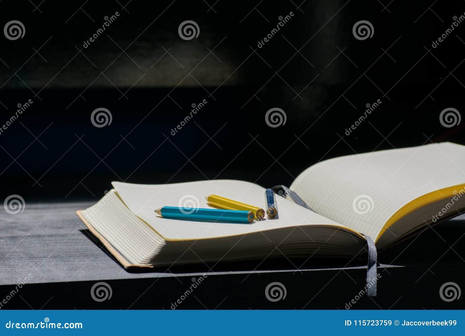 Terug naar van het het Kleurpotloodpotlood van Schoolnoteblock de Kleuren Blauw Geel Notitieboekje