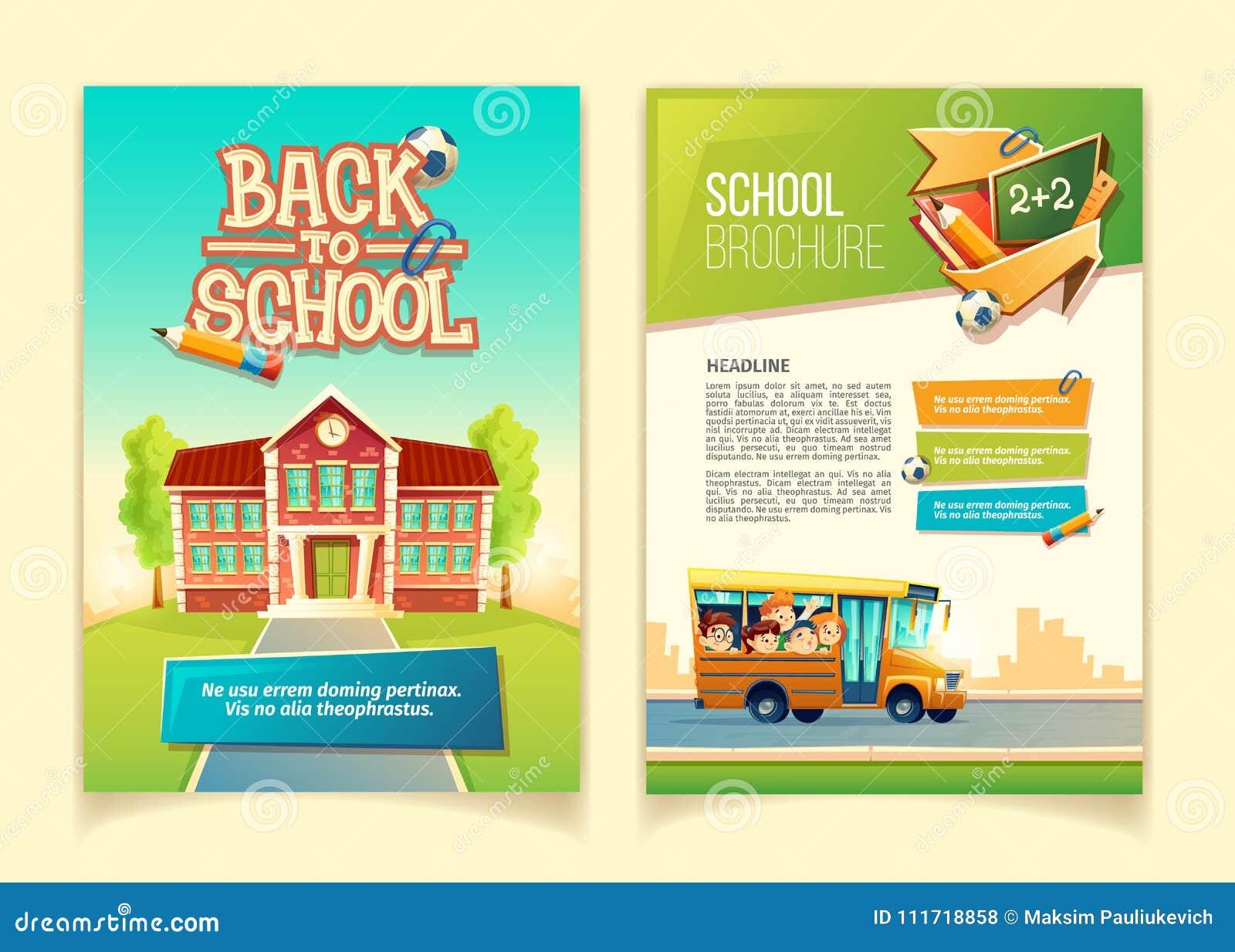 Terug naar vector het beeldverhaalmalplaatje van de schoolbrochure