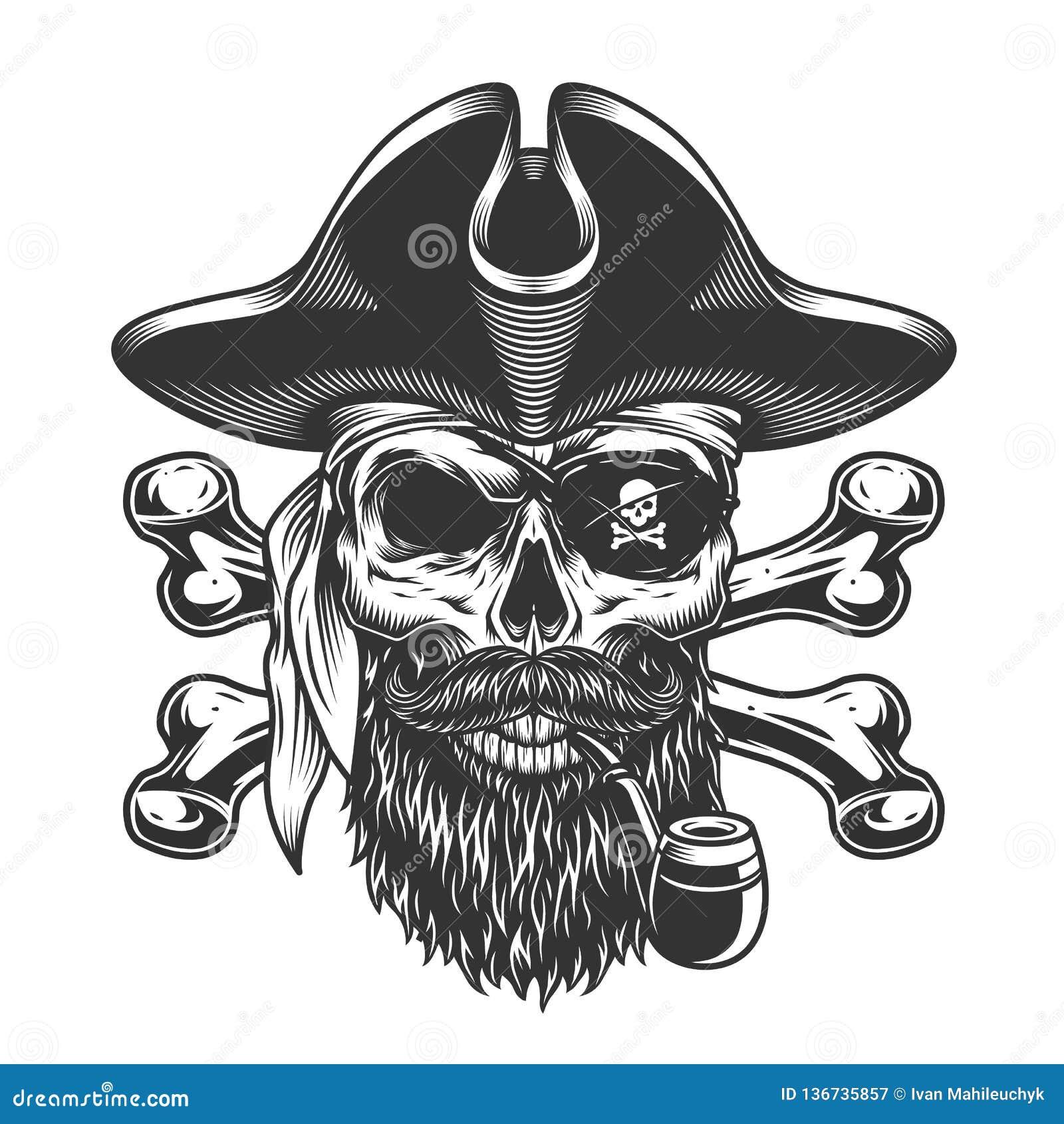 Immagini Di Teschio Pirati teschio di pirata barbuto e mozzato illustrazione vettoriale