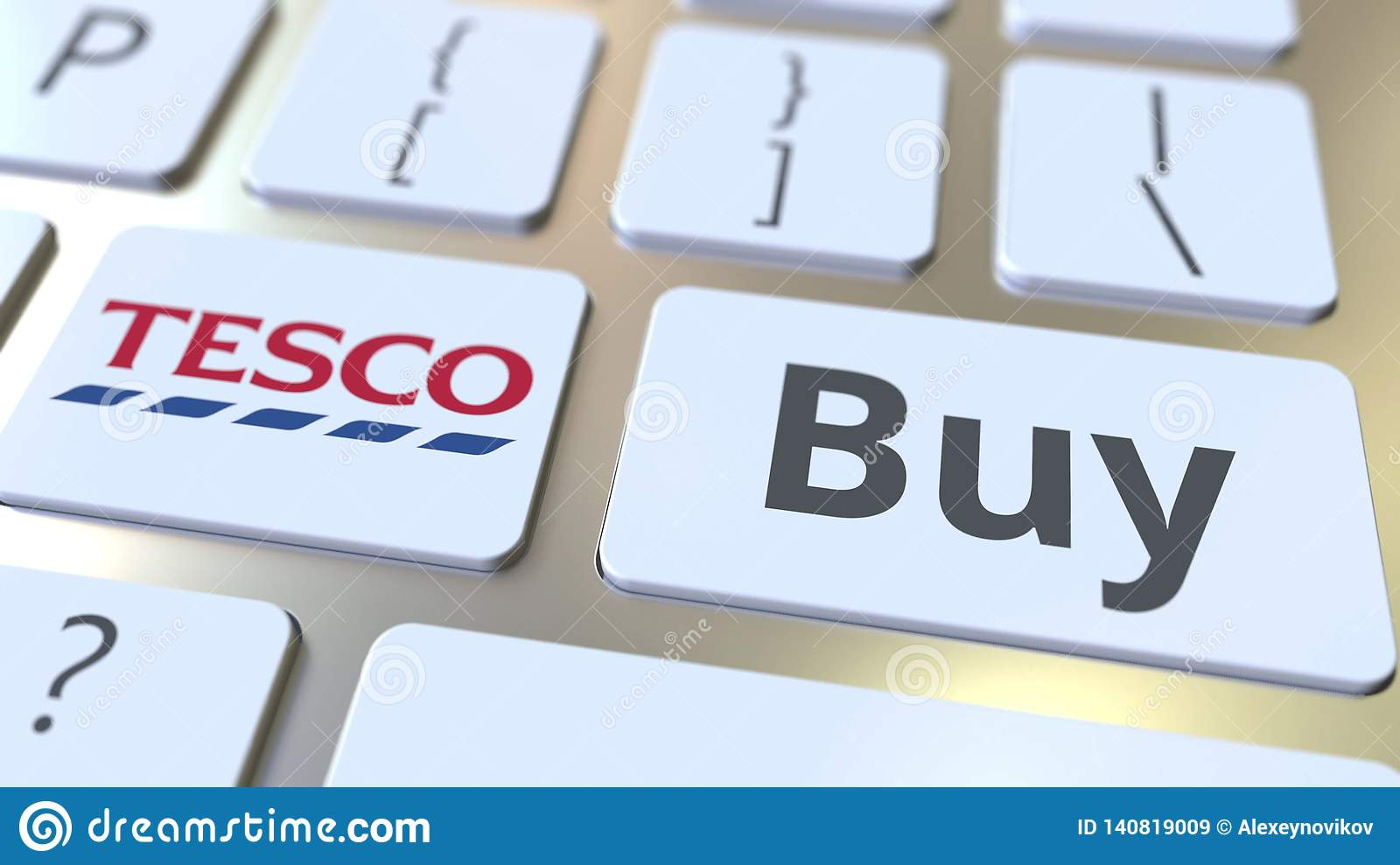 TESCO Company Logo And Buy Text On The Keys Of The Computer