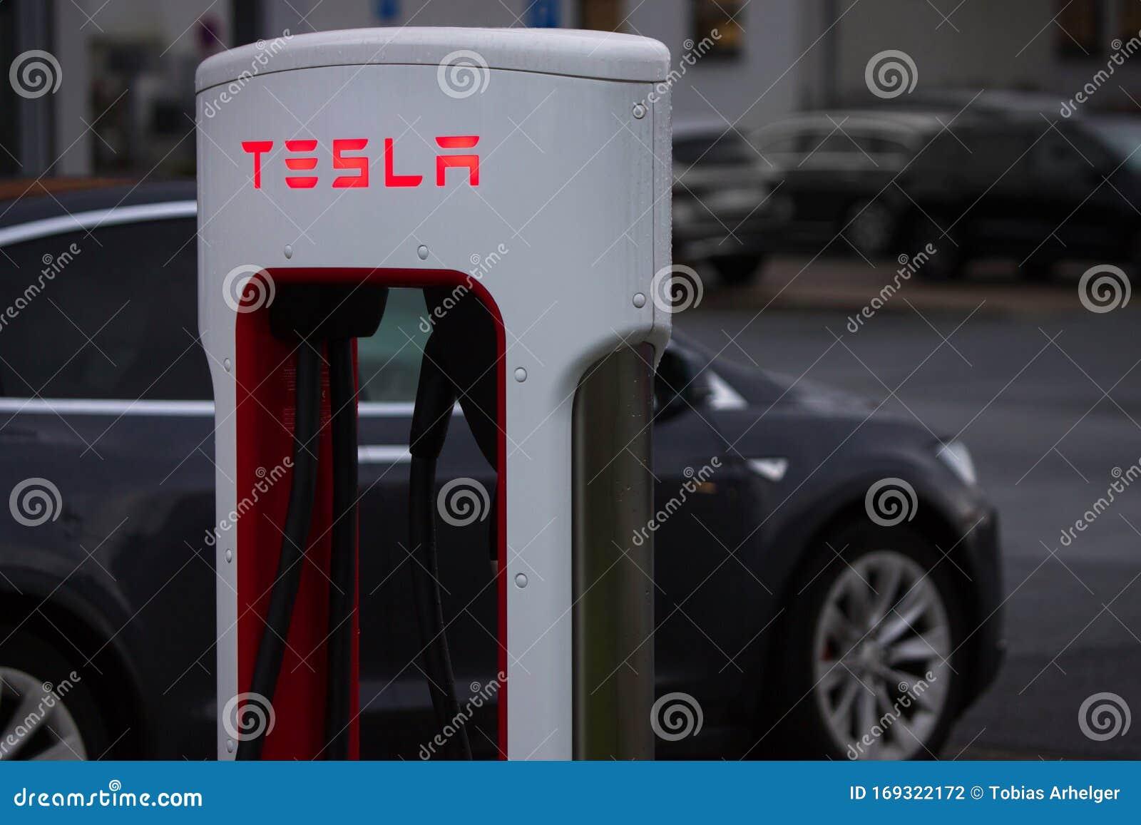 Tesla Car Supercharger In Wilnsdorf Germany Editorial ...