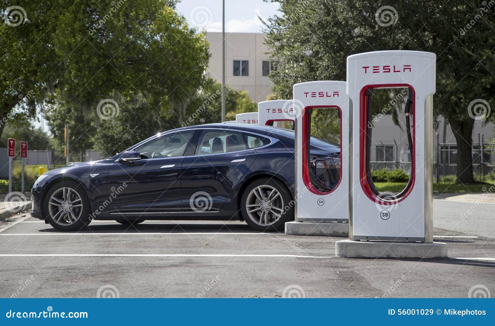 tesla charging stations of florida turnpike stock image image 56001029. Black Bedroom Furniture Sets. Home Design Ideas