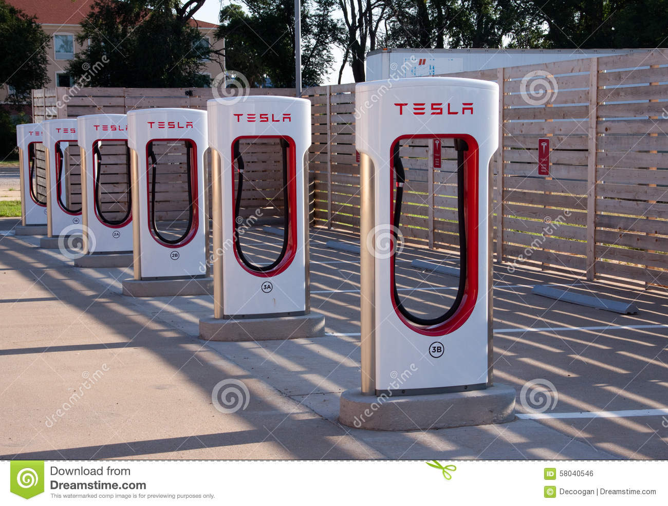 Tesla Electric Car Charging Station Editorial Photo Image
