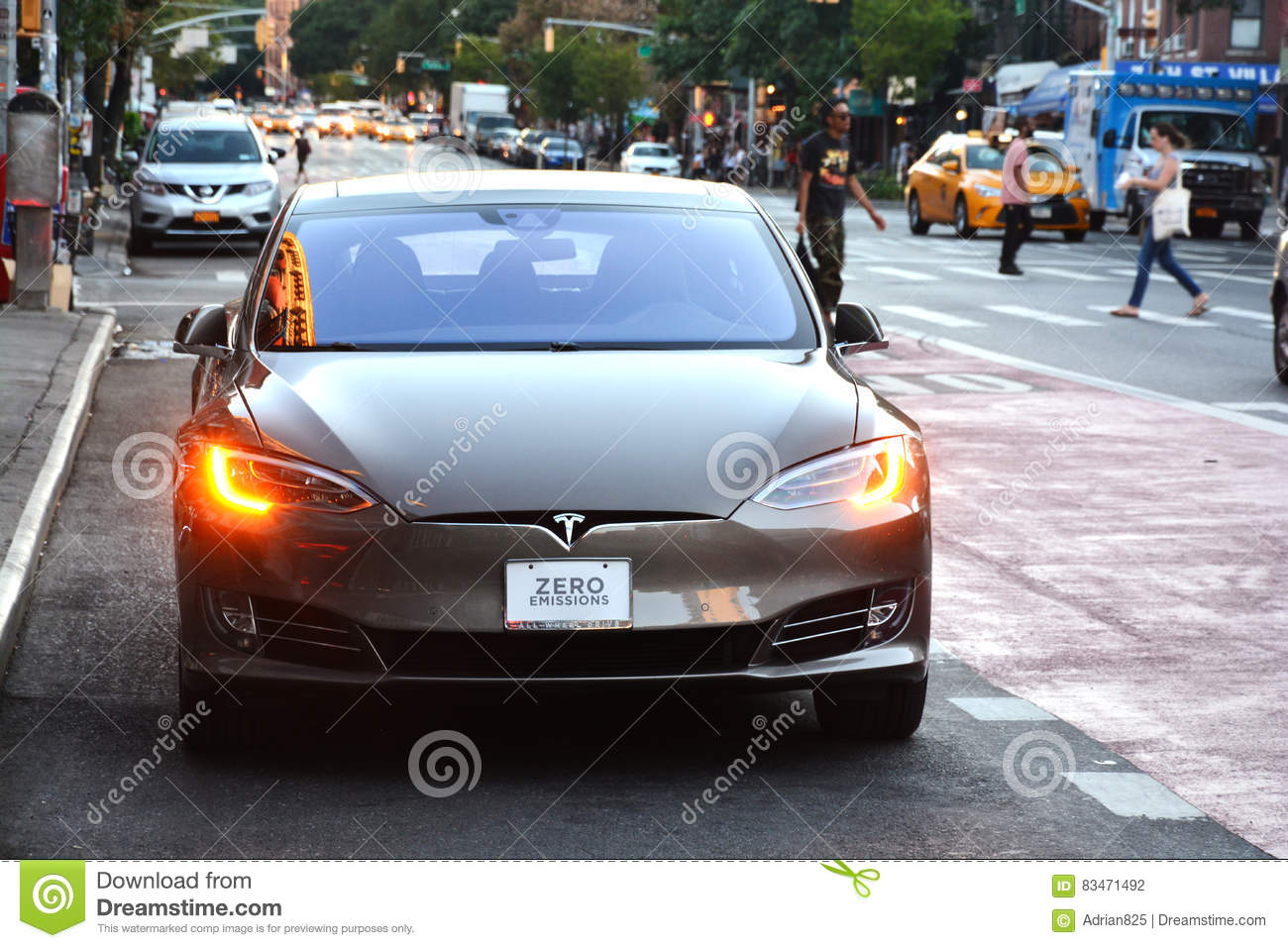 Tesla Electric Car With Zero Emissions Text On The License Plate