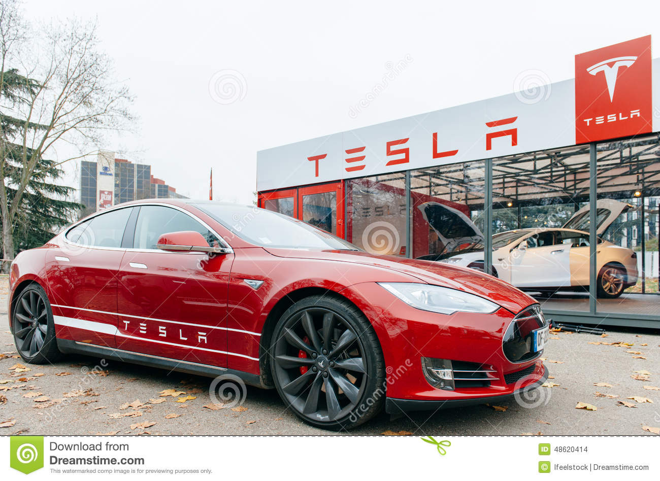 Tesla Model S Electric Car Zero Emissions Editorial Stock Image