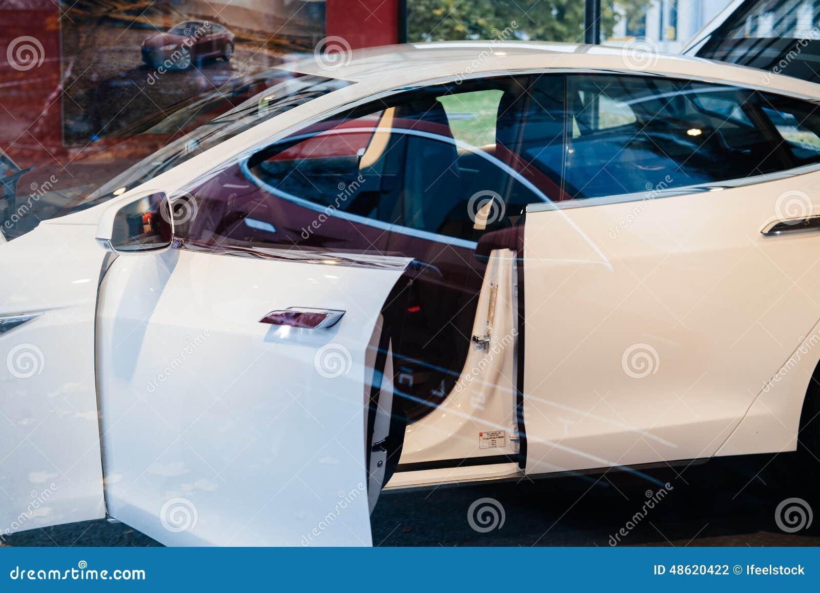 tesla model s electric car zero emissions editorial photography image 48620422. Black Bedroom Furniture Sets. Home Design Ideas