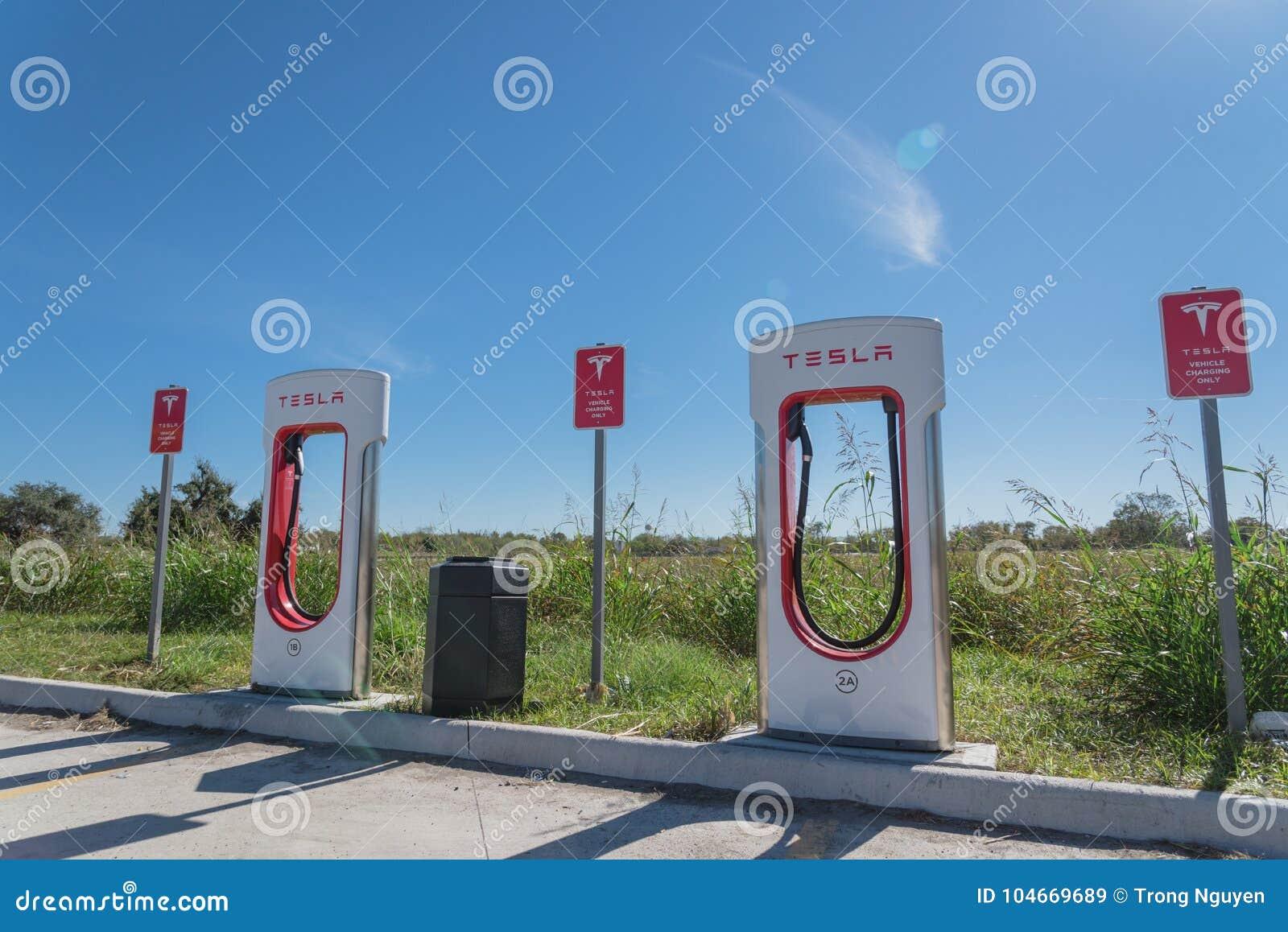 Tesla Supercharger In Flatonia, Texas, USA Editorial Stock Image