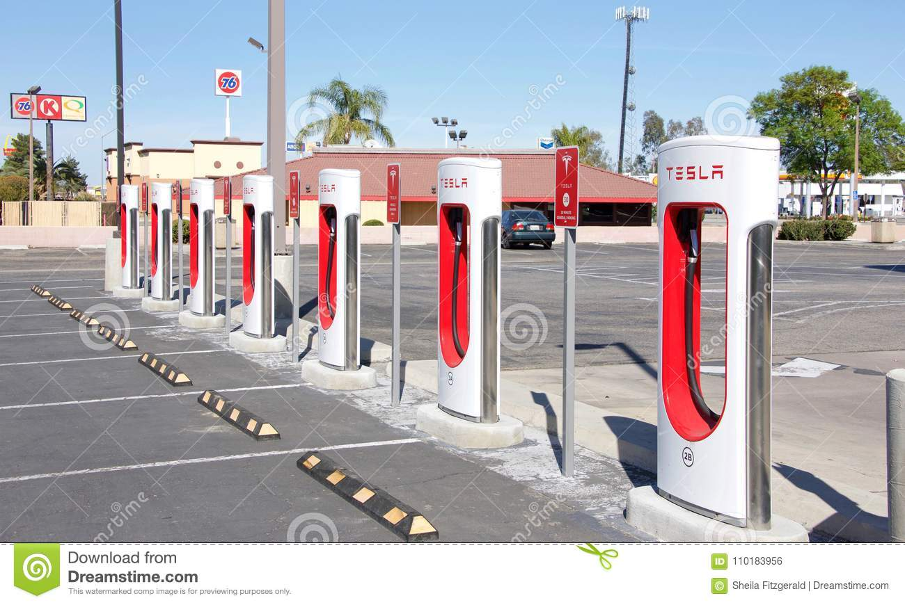 Tesla Supercharger Station In Kettleman City Ca Editorial