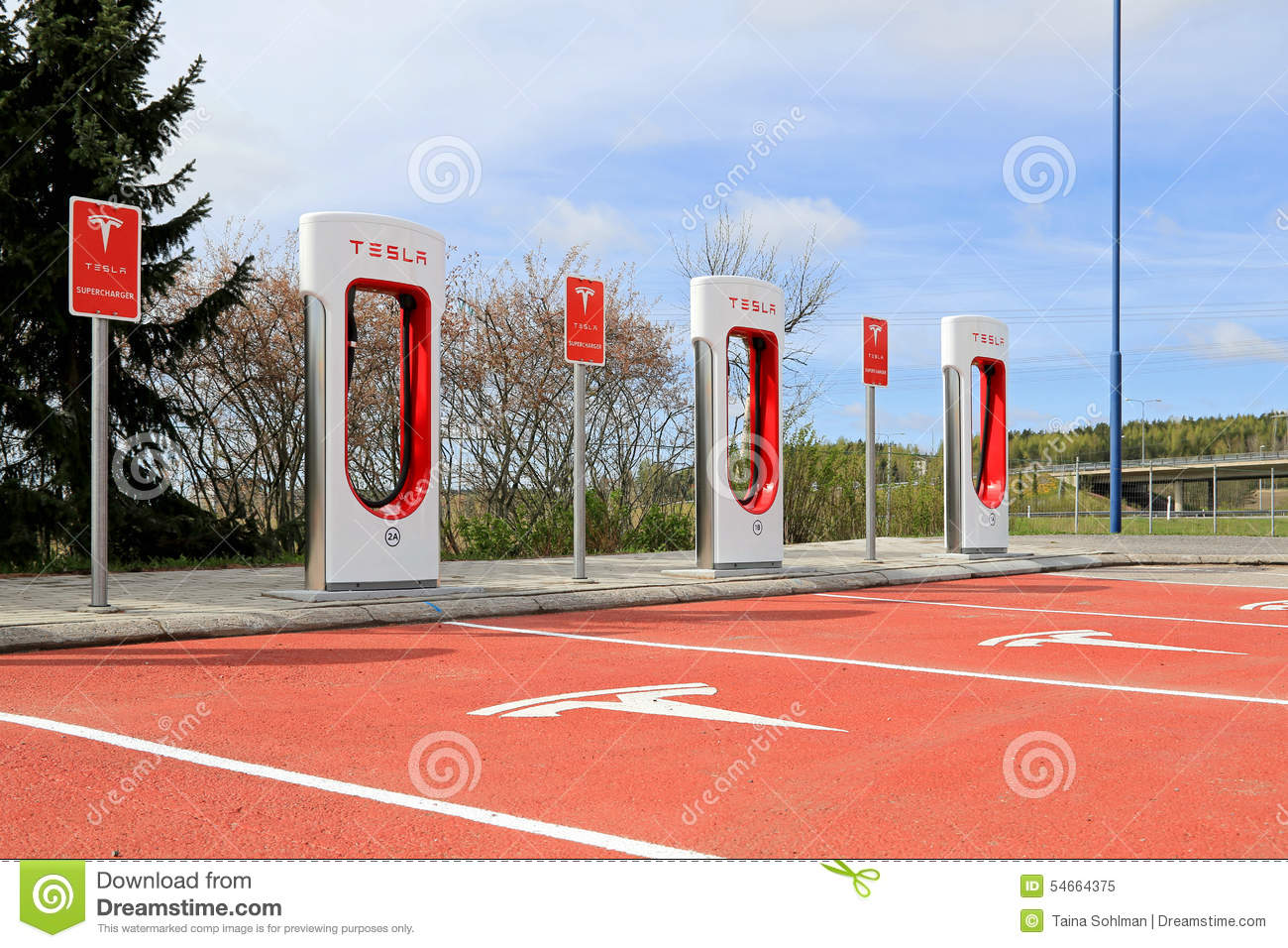 Tesla Supercharger Station In Paimio, Finland Editorial