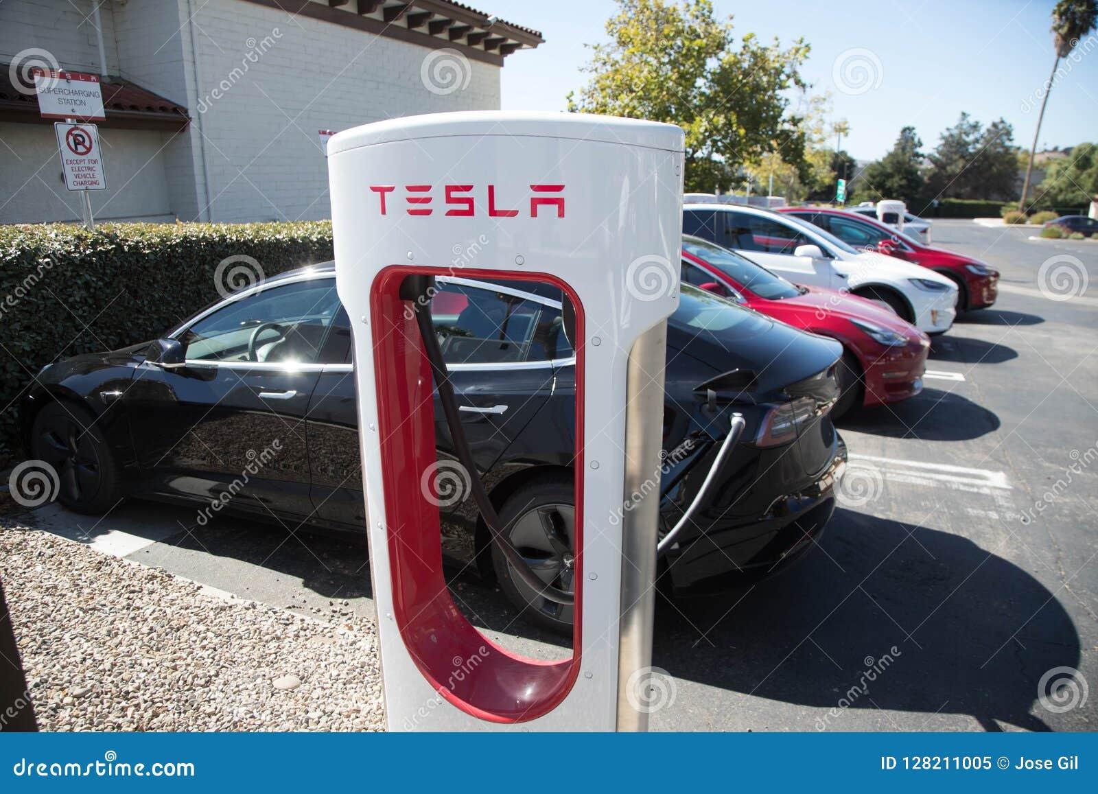 Tesla Superchargers 3 editorial image  Image of motors
