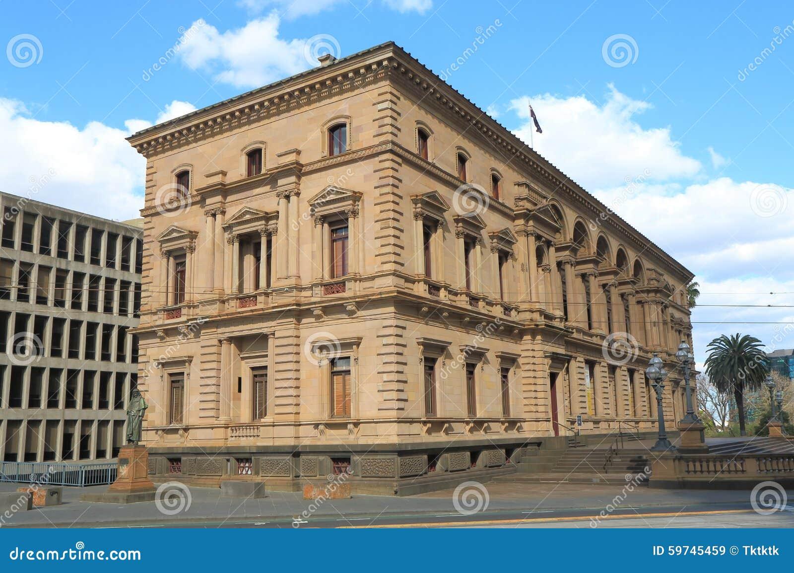Tesouraria velho da arquitetura histórica que constrói Melbourne Austrália