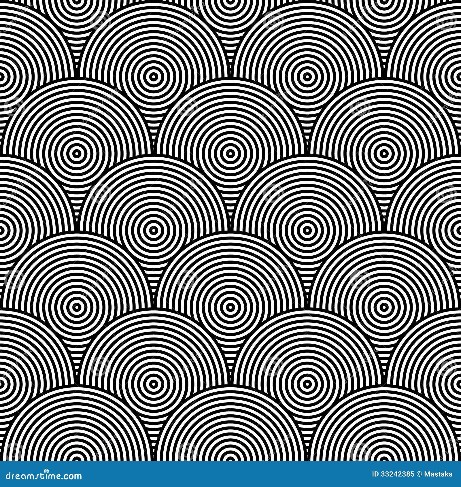 Tessuto Circolare Psichedelico In Bianco E Nero Illustrazione