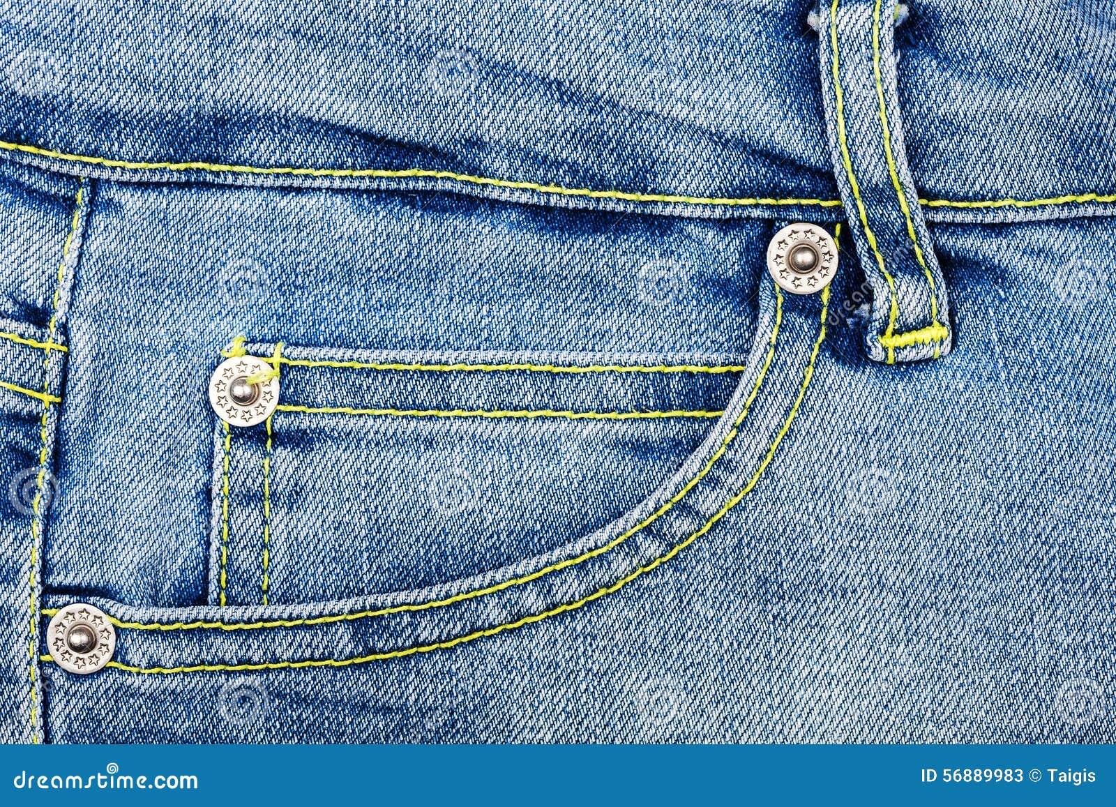 Tessuto delle blue jeans con la casella