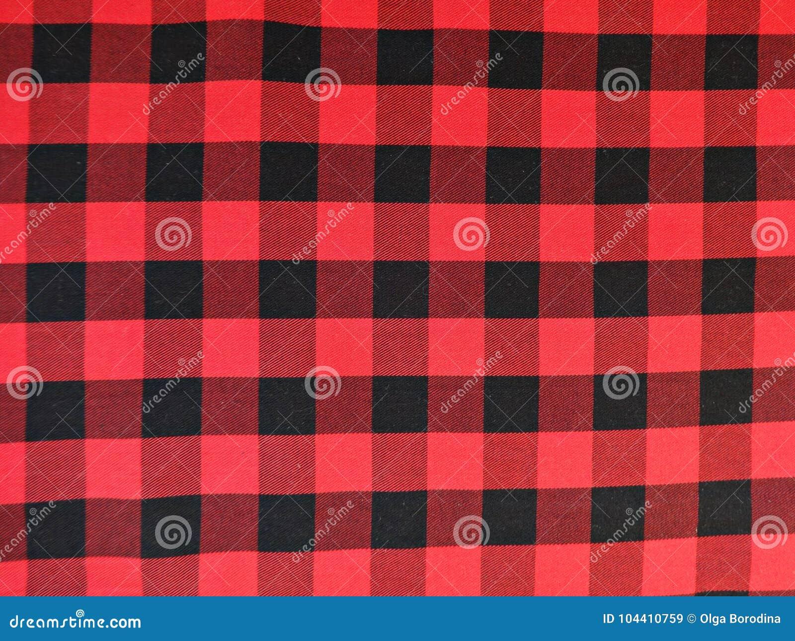 Tessuto Di Cotone In Un A Quadretti Nero E Rosso Immagine Stock