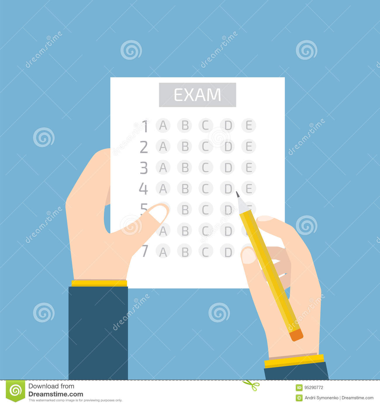 Test Answer Sheet Concept Isometric Vector Illustration