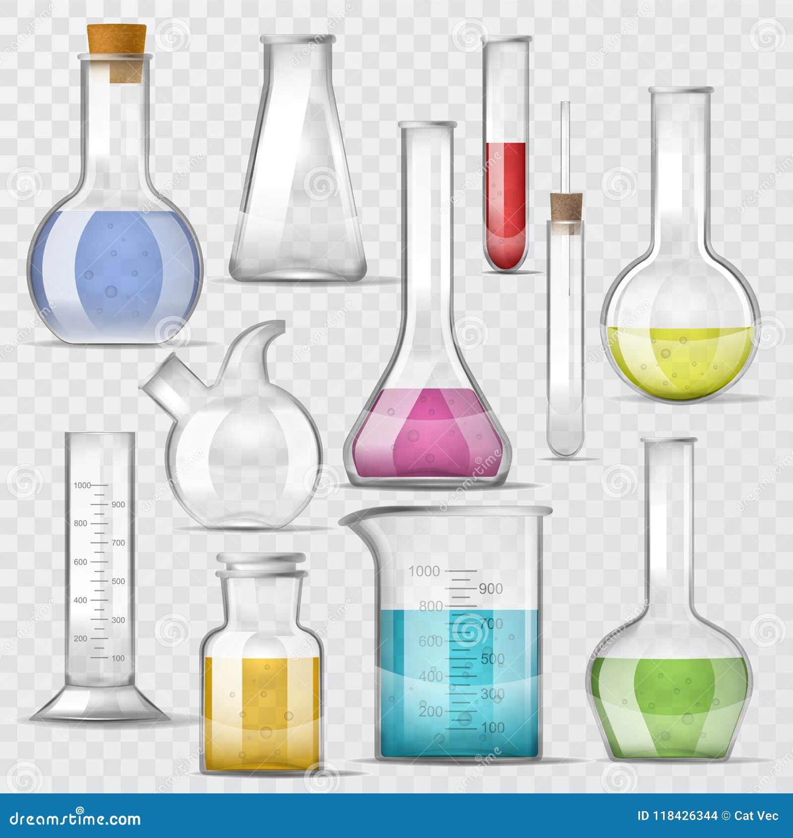 Test-buis vector chemische die glasreageerbuizen met vloeistof voor wetenschappelijke onderzoek of experimentillustratie worden g