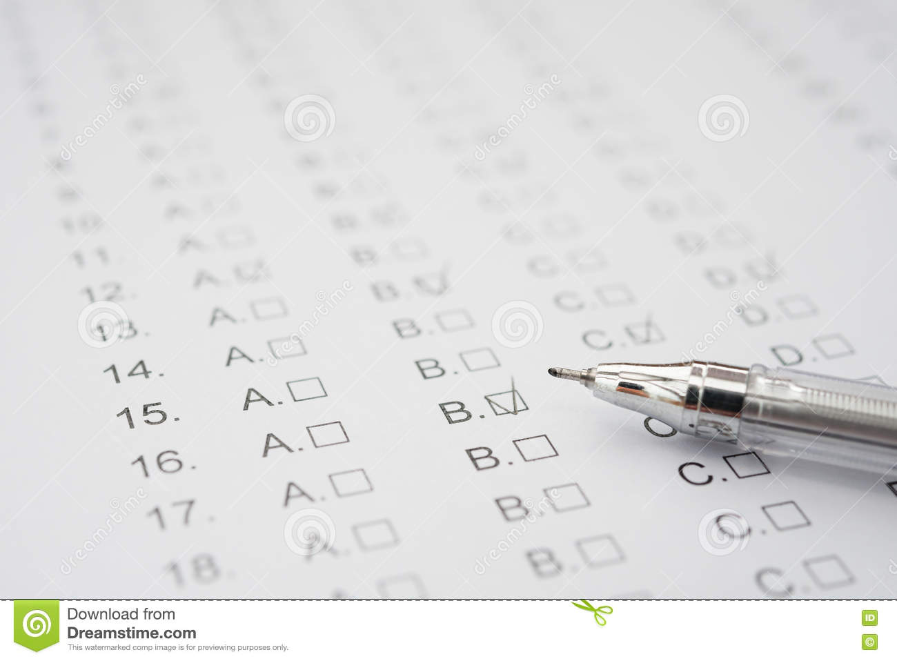 Test score sheet with answers and ballpoint