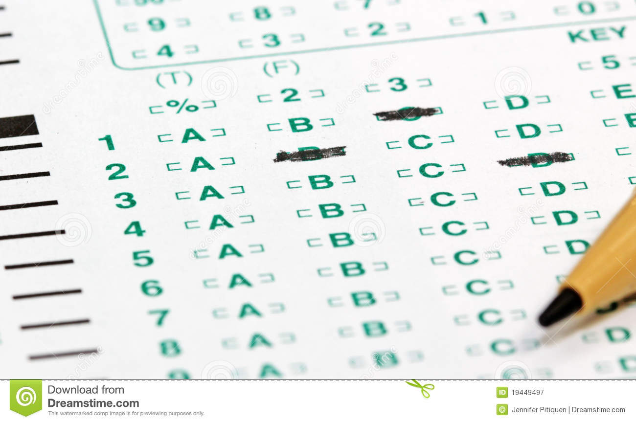 Electronic testing sheet of multiple choice type with answer markings ...