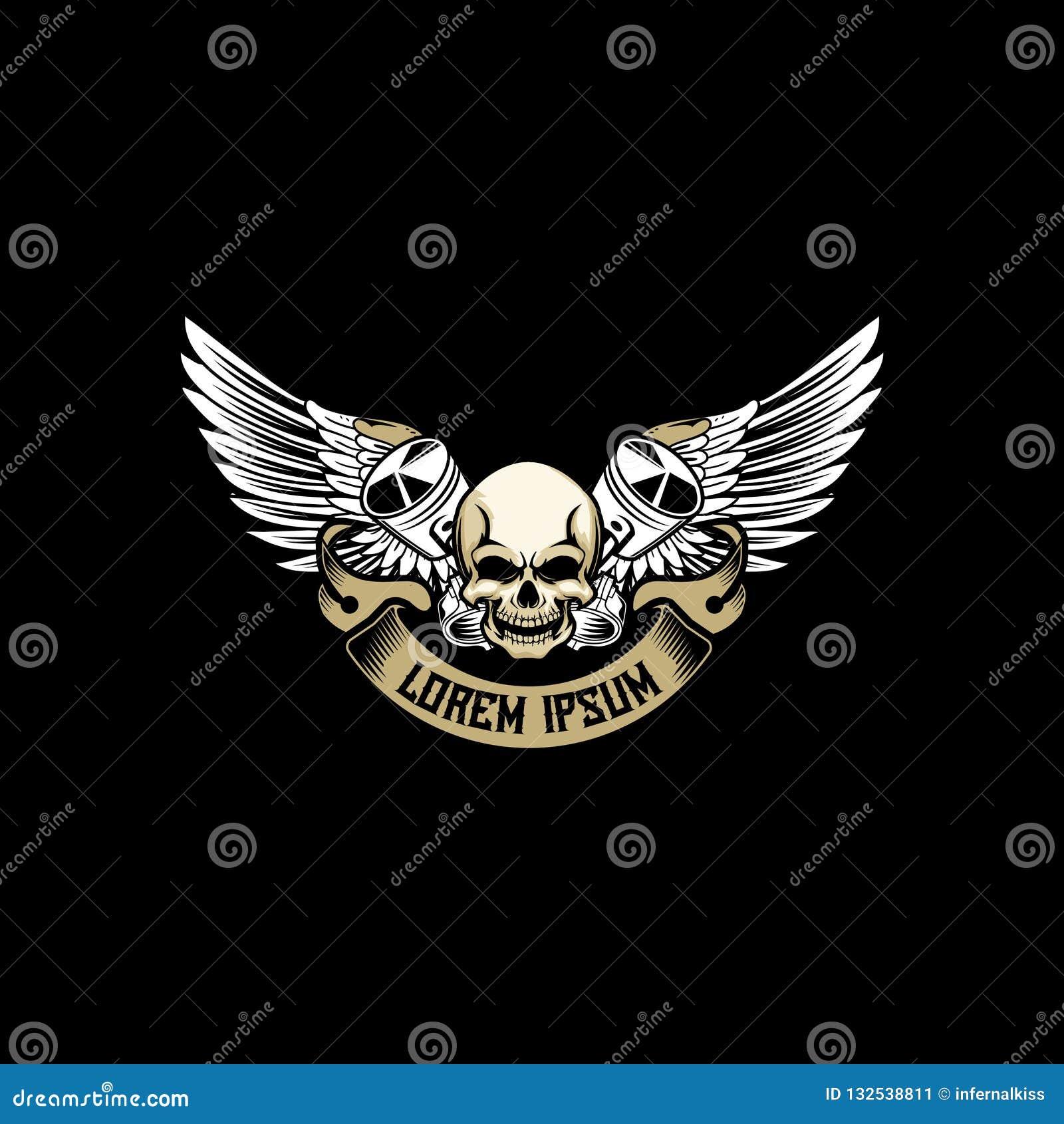 Testa del cranio con il pistone trasversale con il vettore dell ala per il modello del motociclo o automobilistico del club di lo