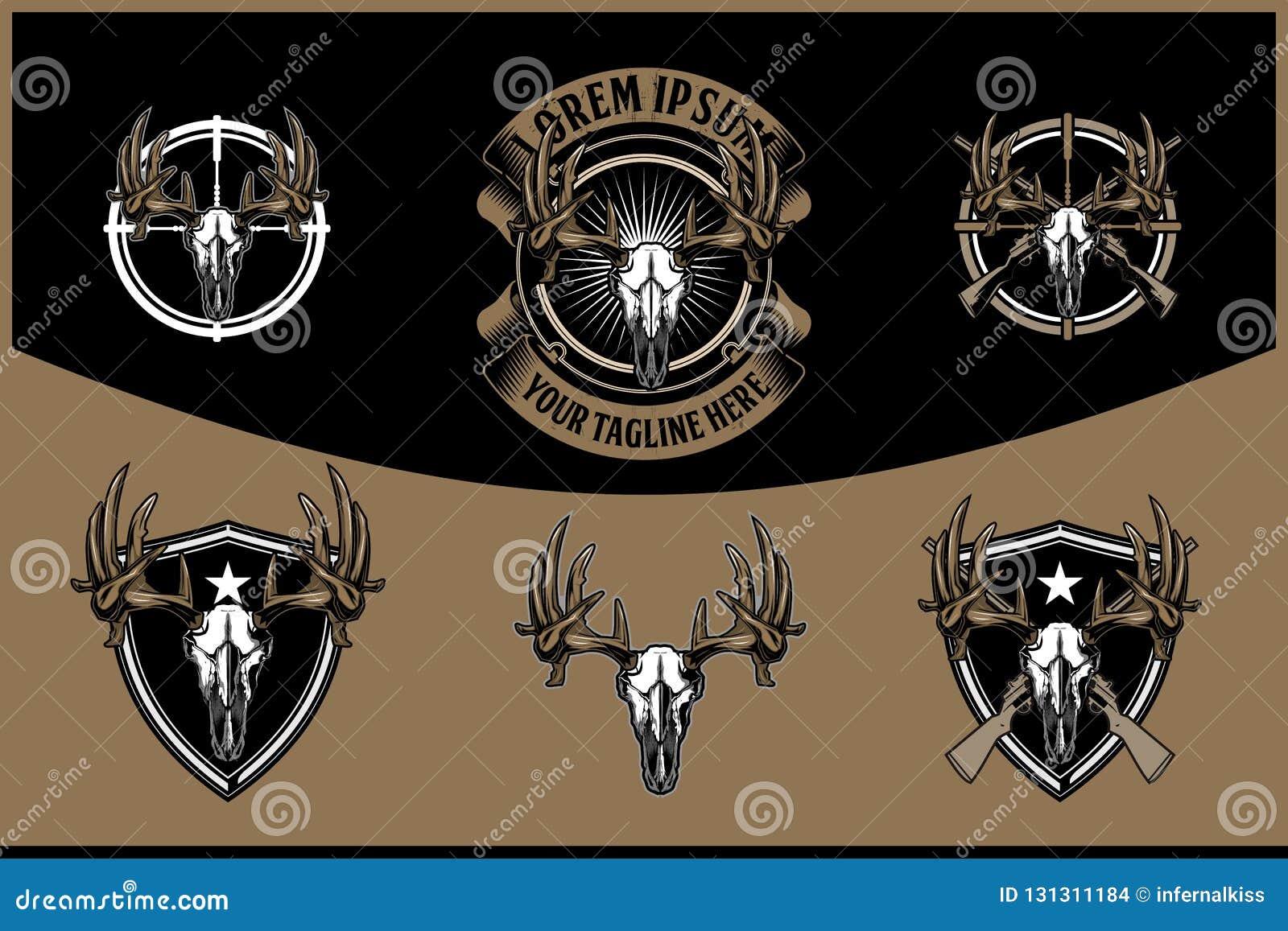 Testa del cranio dei cervi con il retro modello di logo del fucile del distintivo trasversale di vettore per cercare club